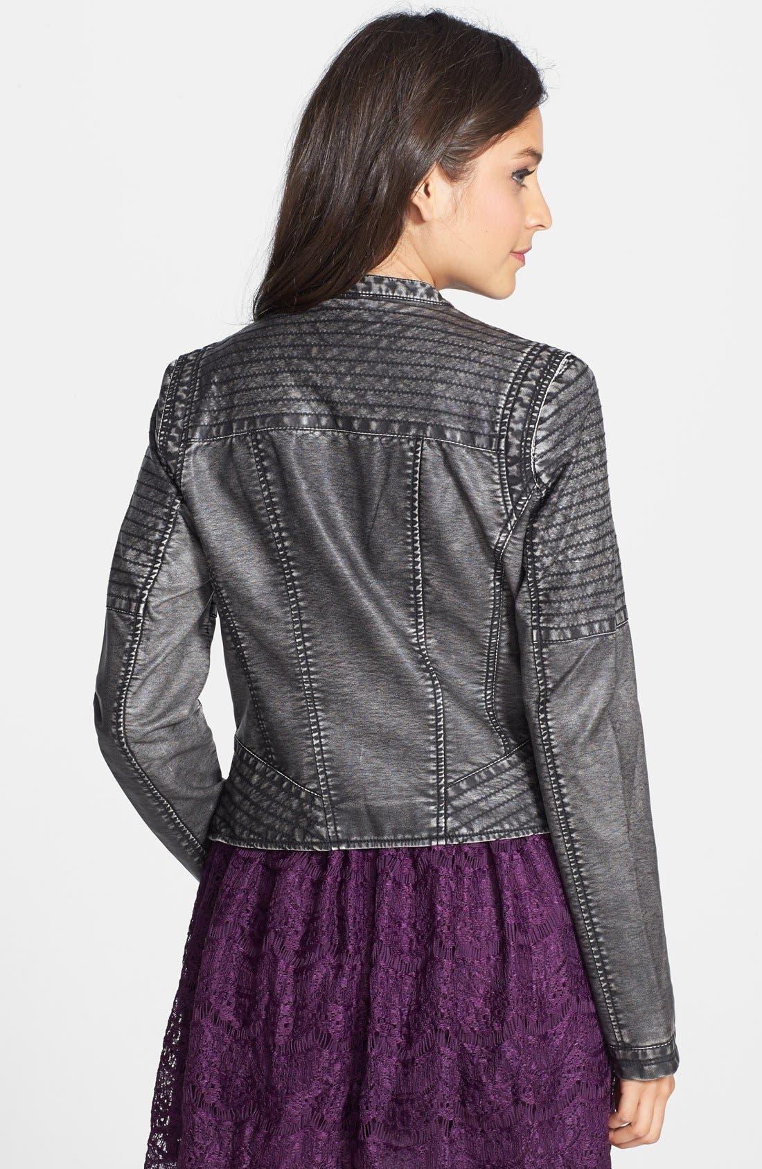 Alternate Image 2  - Jou Jou Faux Leather Moto Jacket (Juniors)