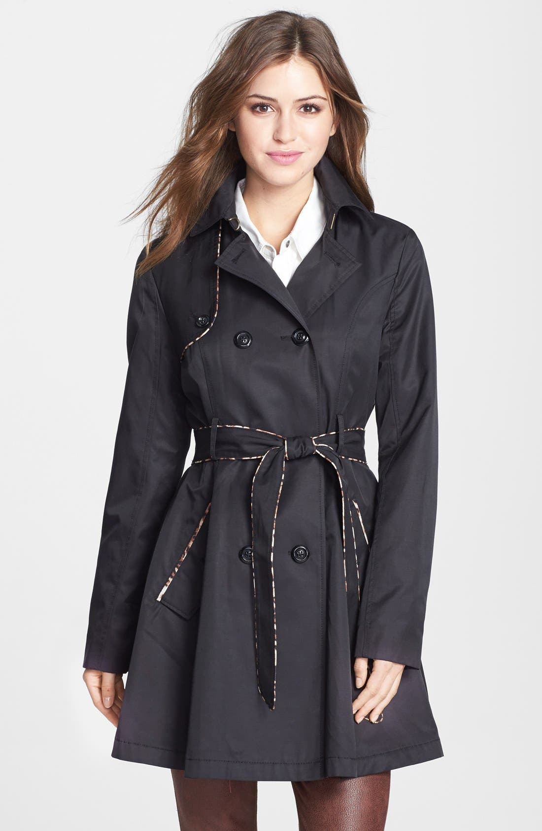 Alternate Image 1 Selected - Betsey Johnson Leopard Piped Trench