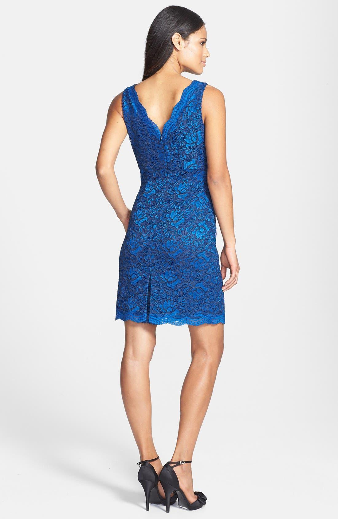 Alternate Image 2  - Donna Ricco Scalloped Lace Sheath Dress (Petite)