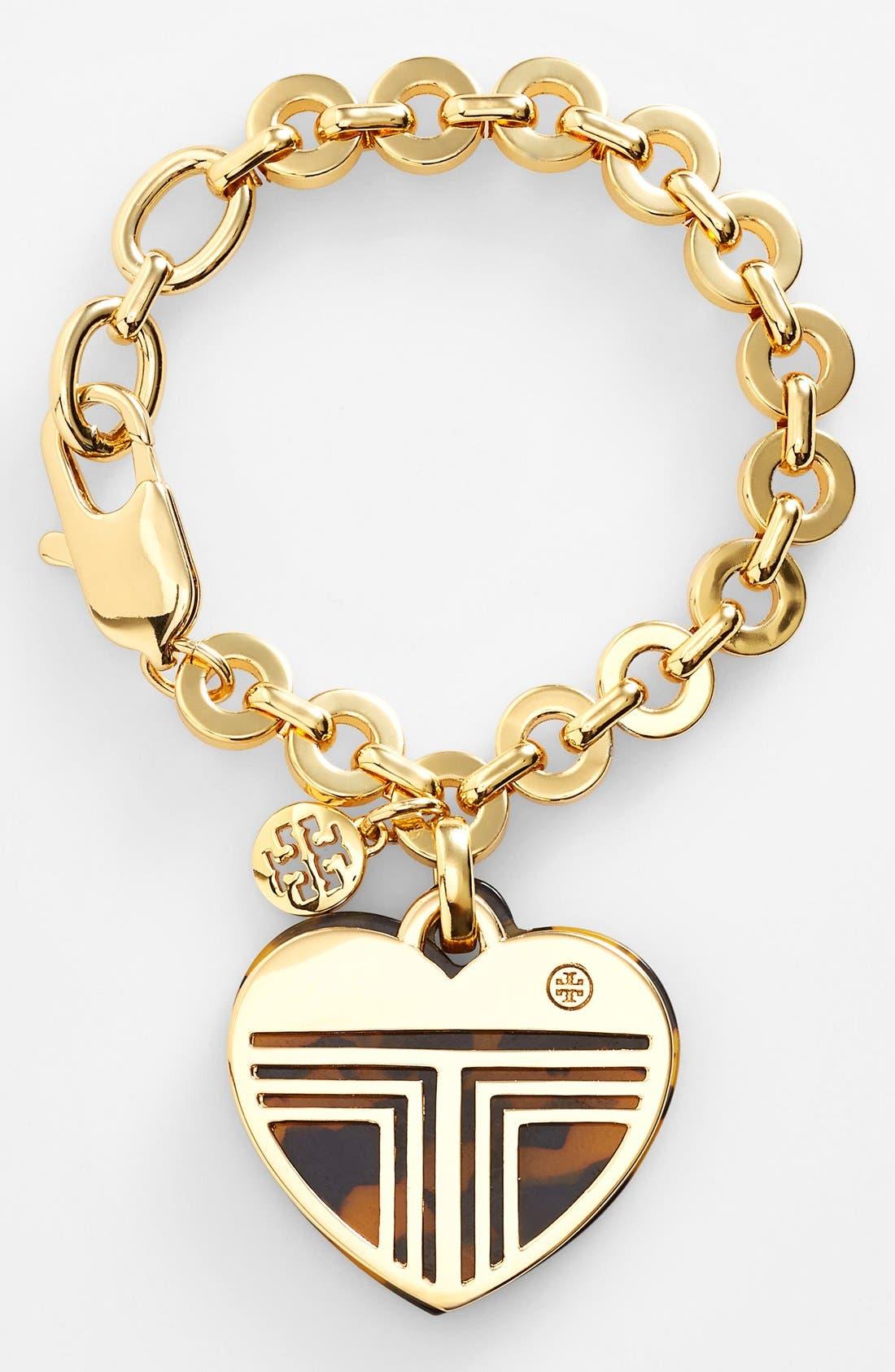 Main Image - Tory Burch 'Adeline' Logo Charm Bracelet