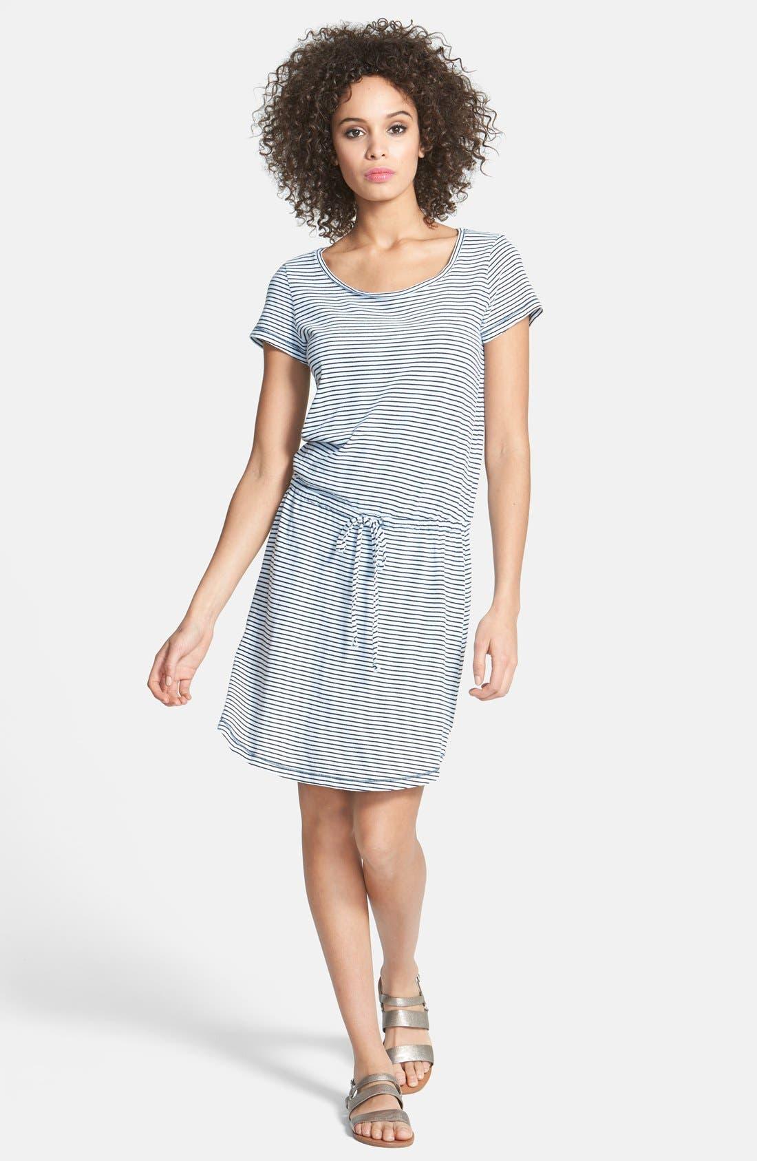 Main Image - Splendid Indigo Dye Stripe Knit Blouson Dress