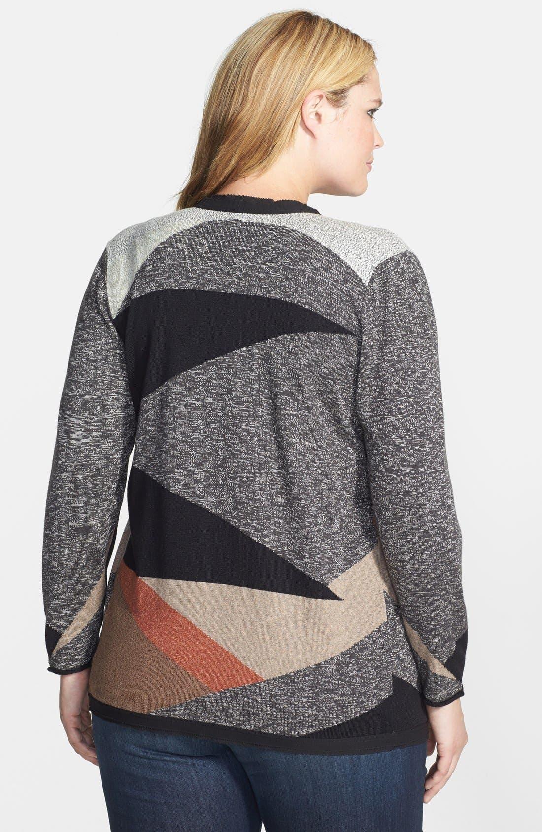 Alternate Image 2  - NIC+ZOE Intarsia Drape Front Cardigan (Plus Size)