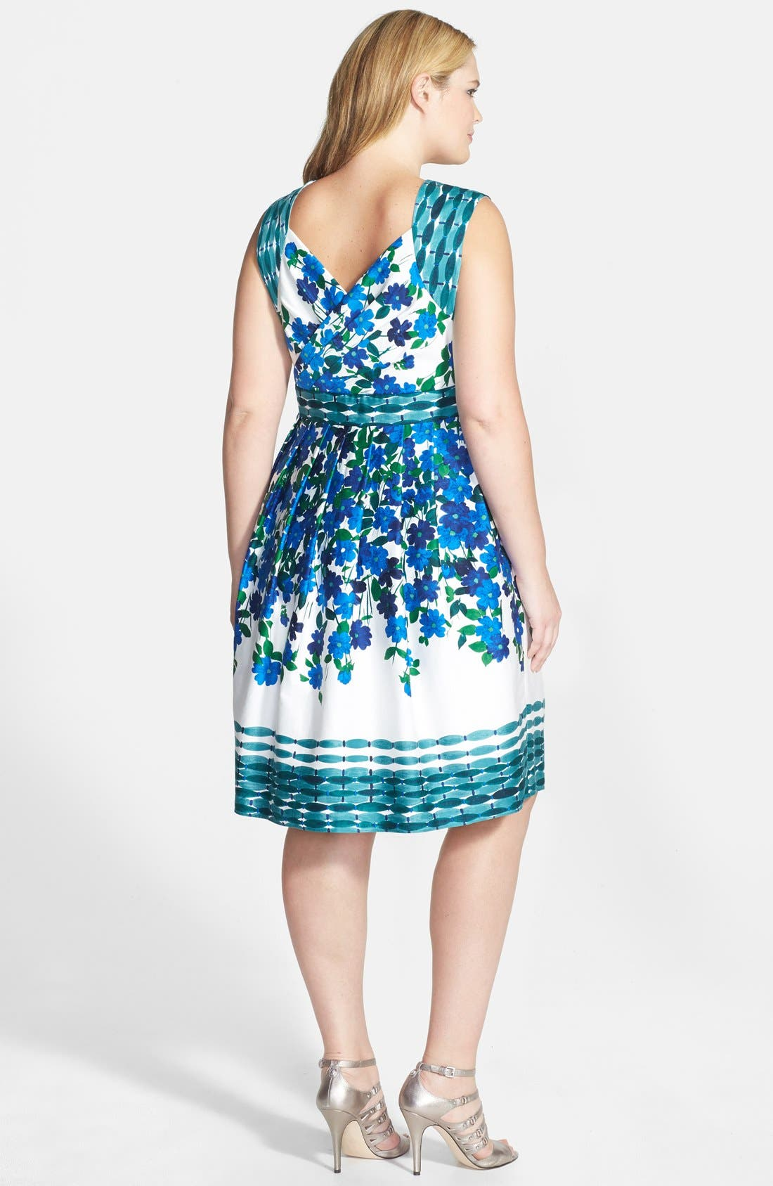 Alternate Image 2  - Adrianna Papell Floral Print Stretch Cotton Fit & Flare Dress (Plus Size)