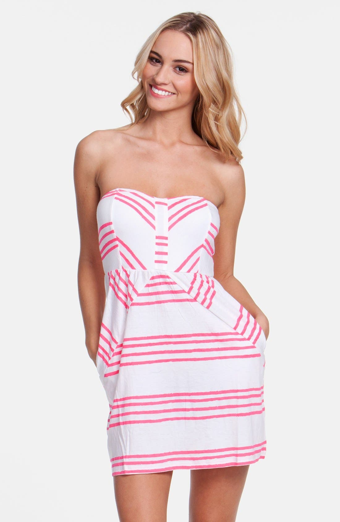 Main Image - Rip Curl 'Shifting Stripes' Strapless Body-Con Dress (Juniors)