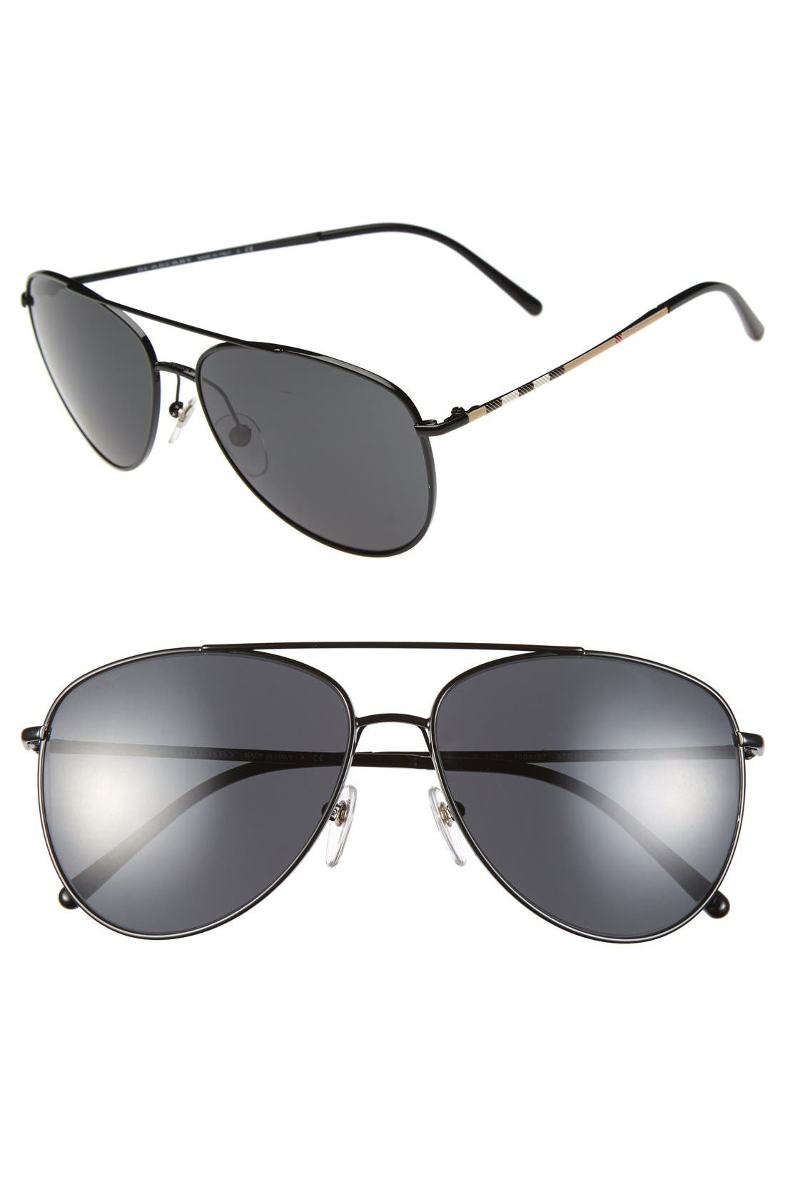 Alternate Image 1 Selected - Burberry 'House Check Foil' 57mm Aviator Sunglasses