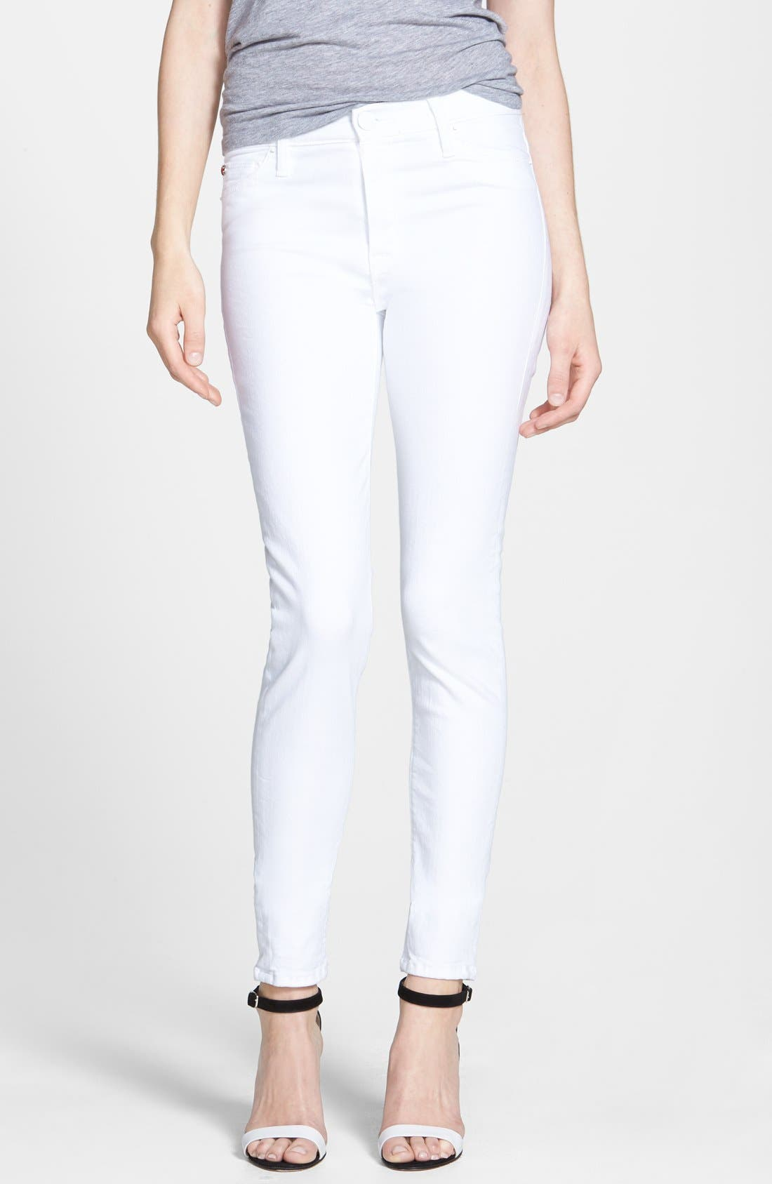 Main Image - Hudson Jeans 'Nico' Skinny Stretch Jeans (White)