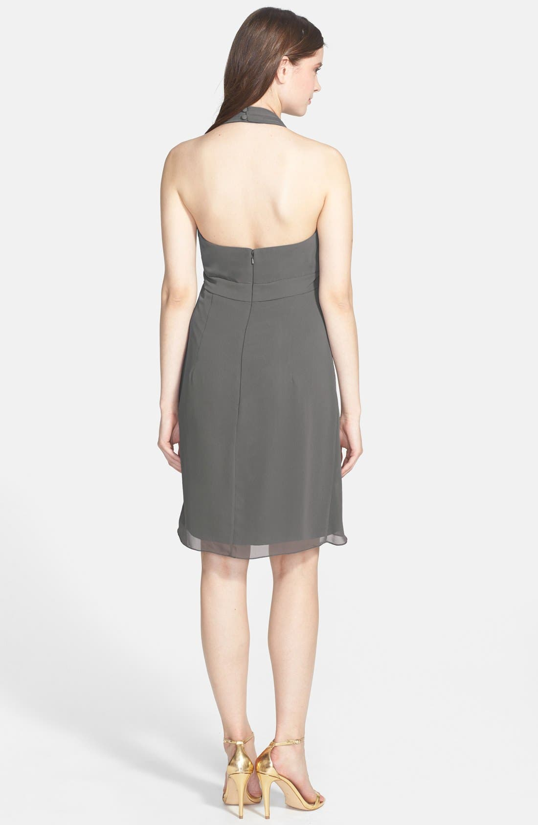 Alternate Image 3  - Jenny Yoo 'Tatum' Side Drape Chiffon Halter Dress