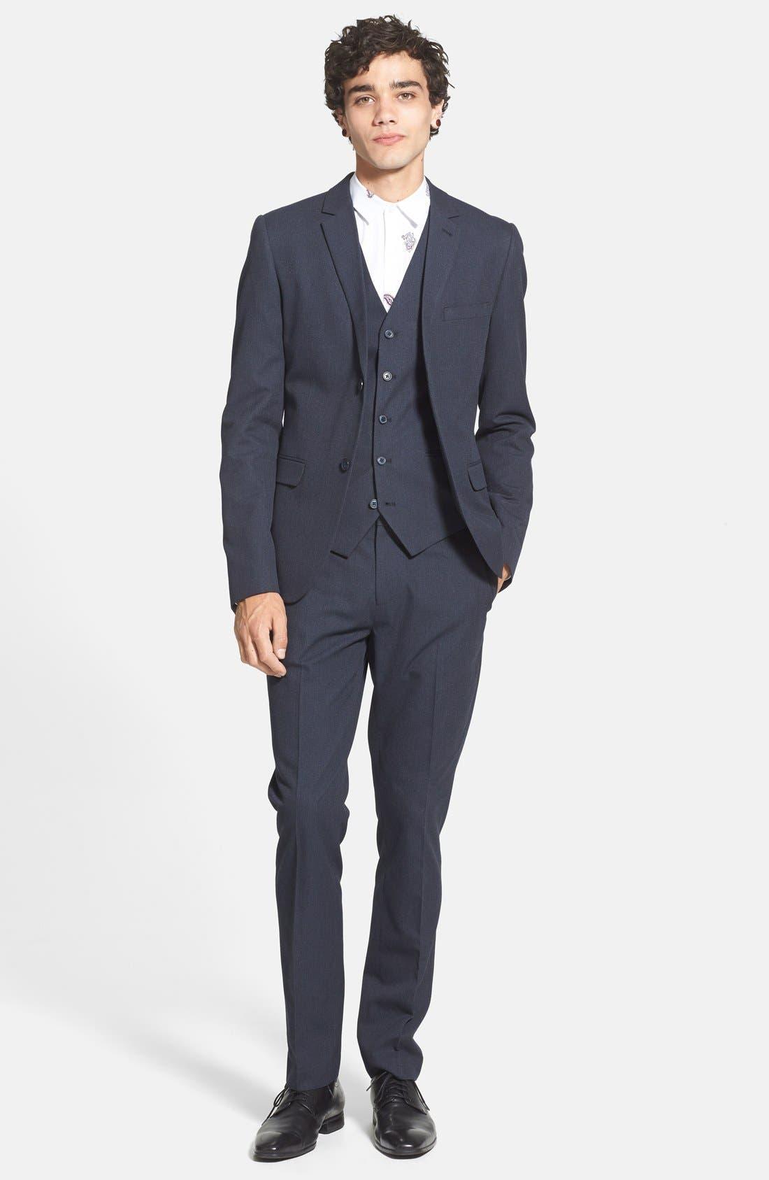 Alternate Image 4  - Topman Navy Pin Dot Skinny Fit Suit Jacket