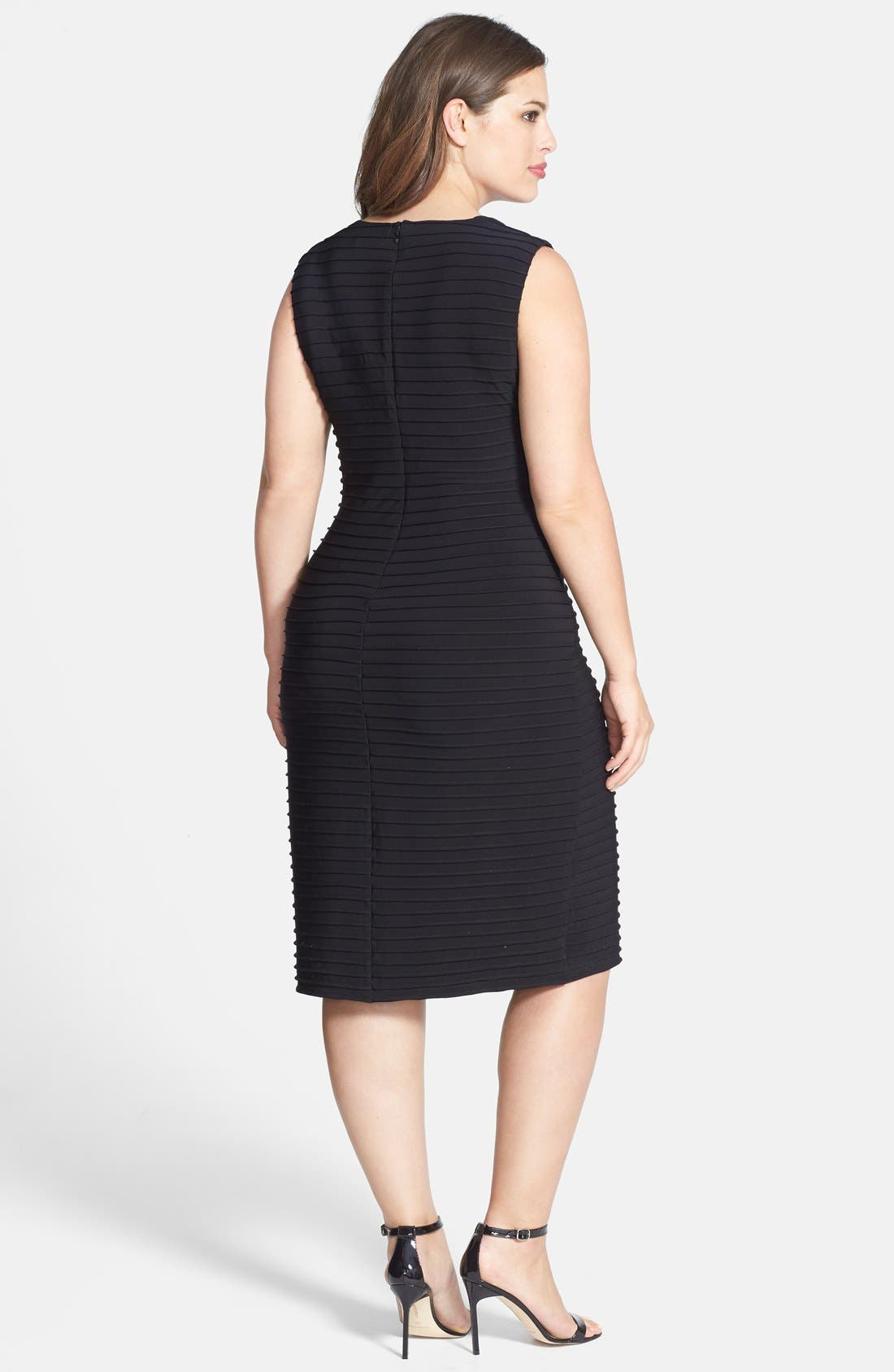 Alternate Image 2  - Calvin Klein Pintuck V-Neck Sheath Dress (Plus Size)