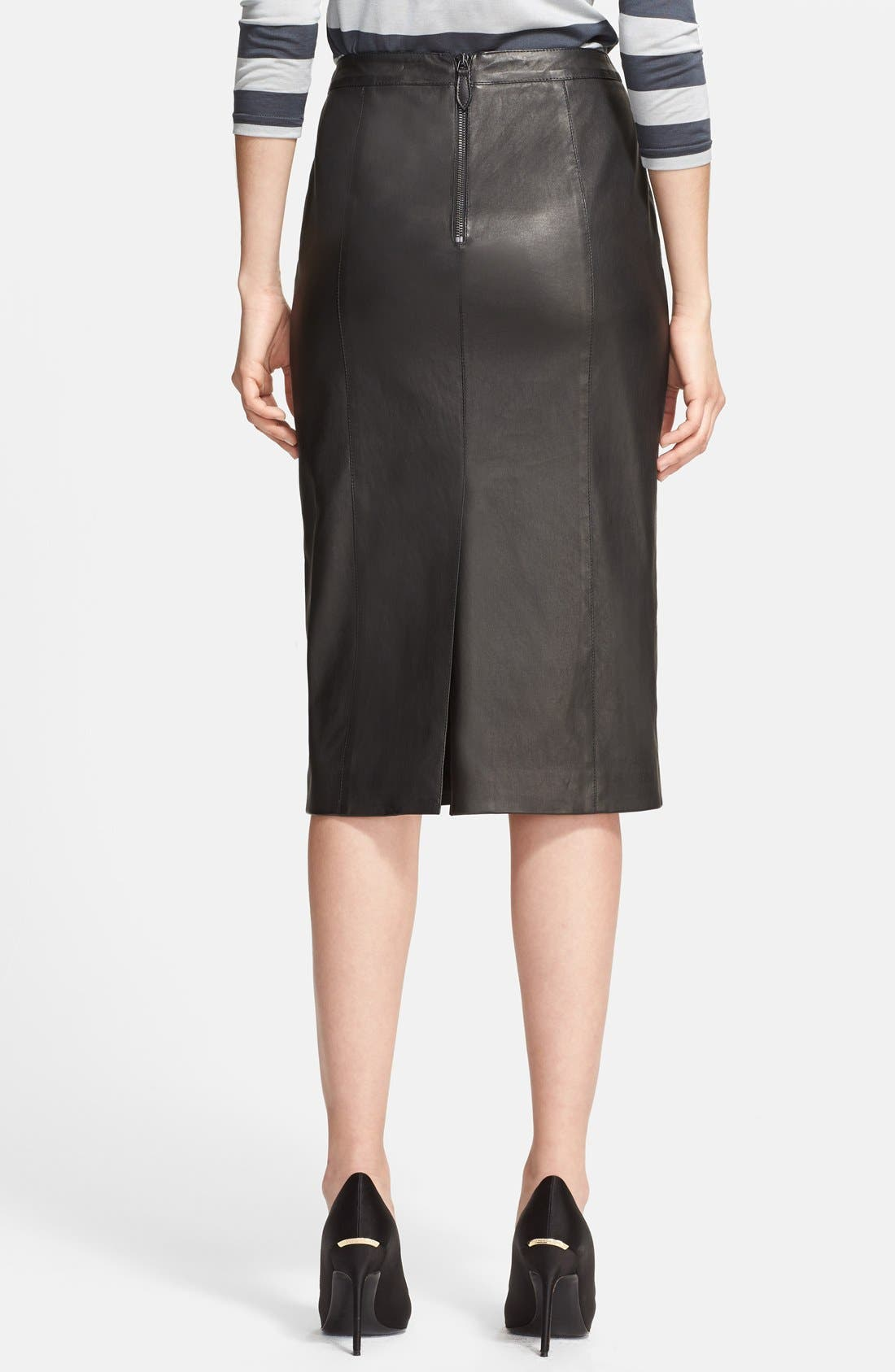 Alternate Image 2  - Burberry London Leather Pencil Skirt