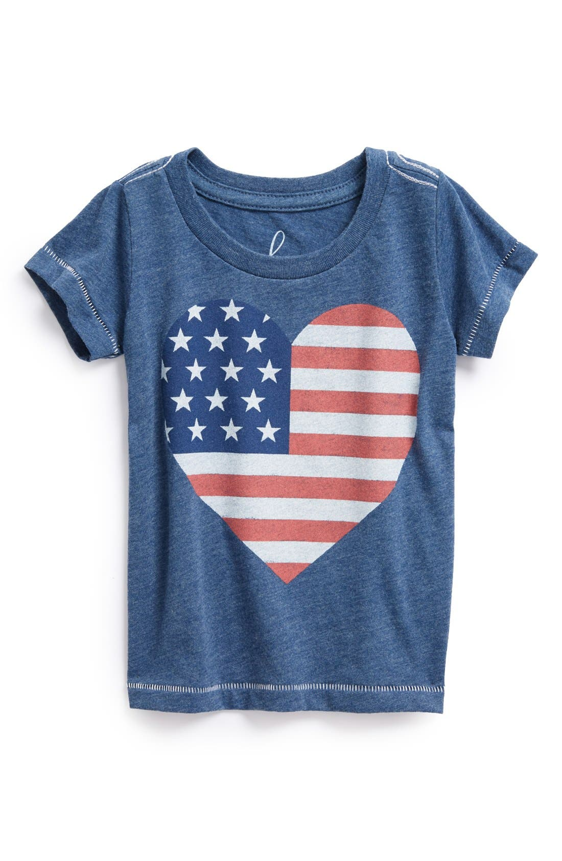 Alternate Image 1 Selected - Peek 'Love America' Heart American Flag Screenprint Tee (Baby Girls)