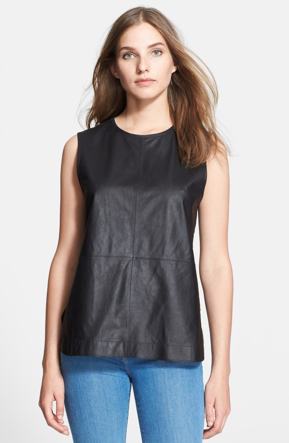 Alternate Image 1 Selected - Equipment 'Kyle' Leather & Silk Top