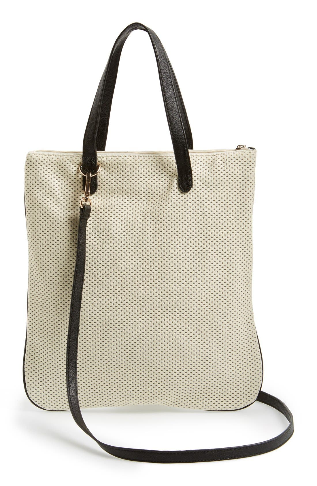 Alternate Image 4  - POVERTY FLATS by rian 'Slim' Perforated Faux Leather Tote