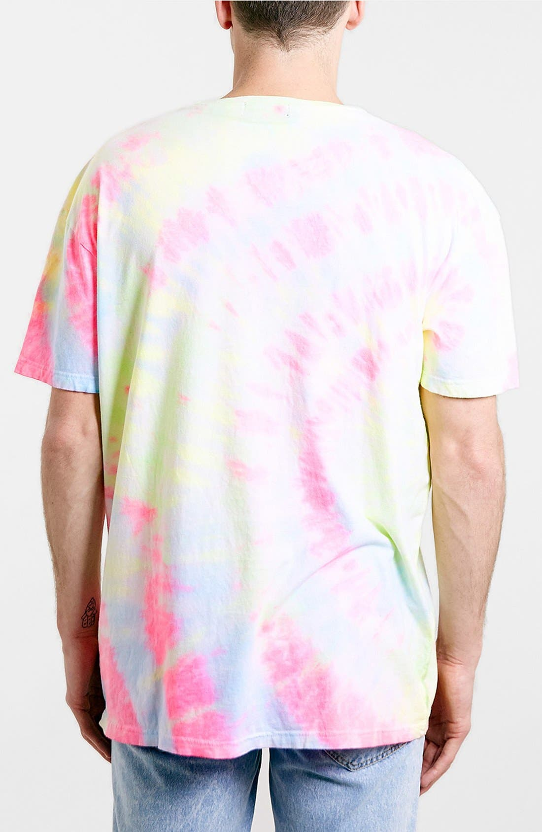 Alternate Image 2  - Topman 'Skater Cali' Oversized Neon Tie-Dye Cotton T-Shirt