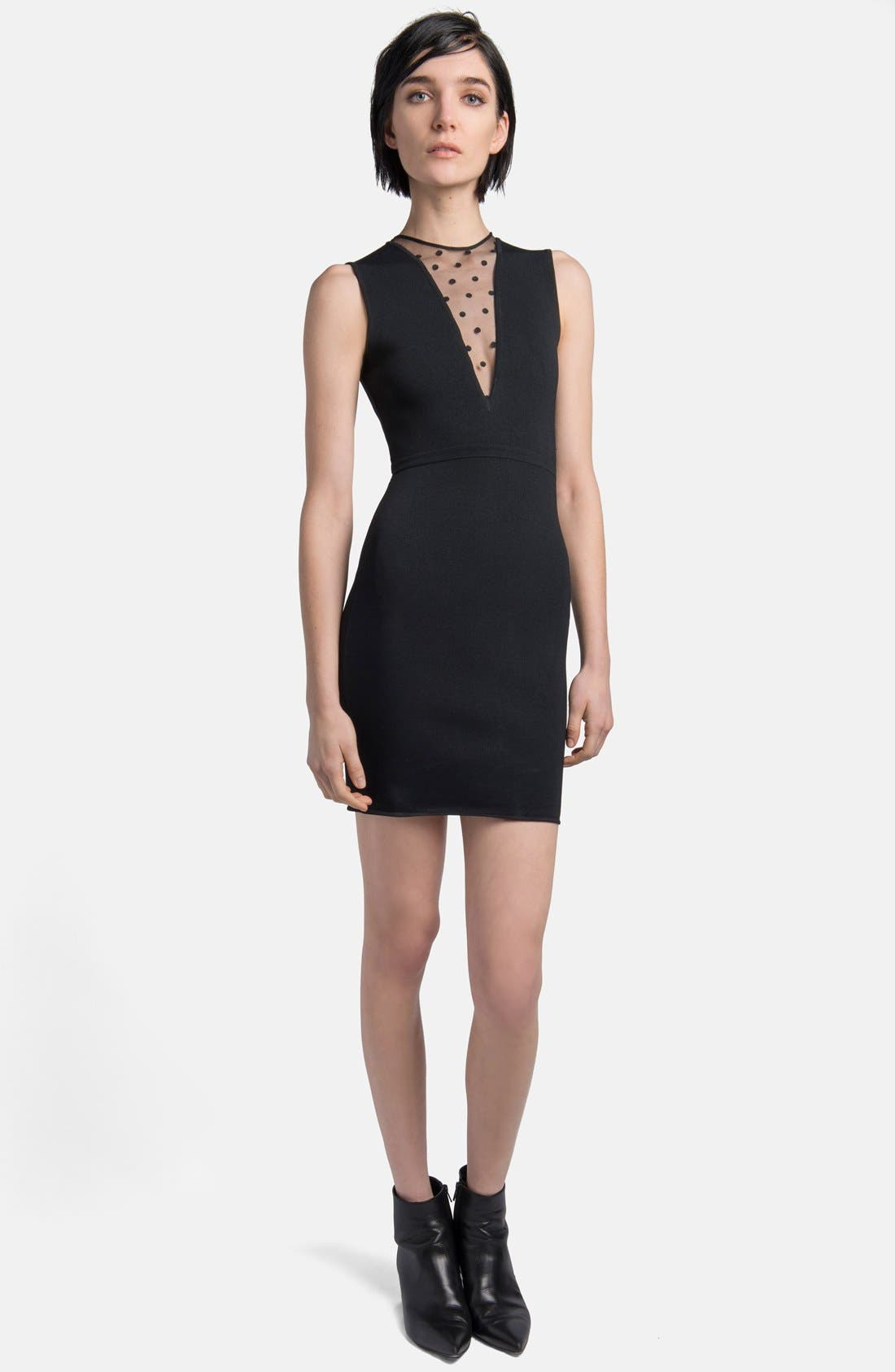 Alternate Image 1 Selected - Saint Laurent Embroidered Inset Minidress