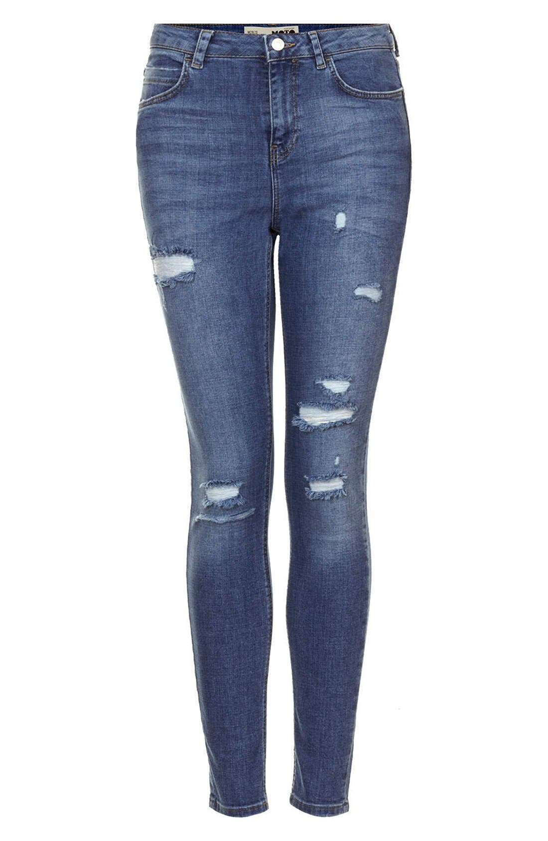 Alternate Image 3  - Topshop Moto Destroyed Skinny Jeans (Mid Denim) (Short & Regular)