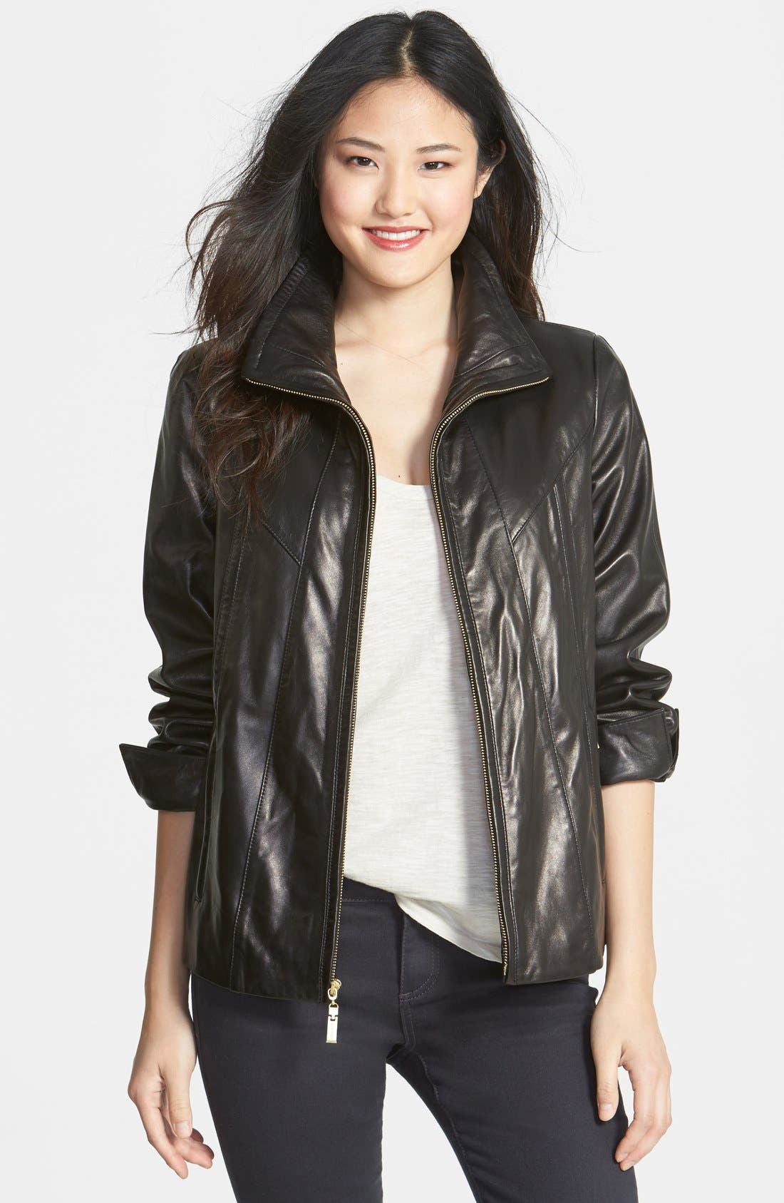 Alternate Image 1 Selected - Ellen Tracy A-Line Lambskin Leather Jacket