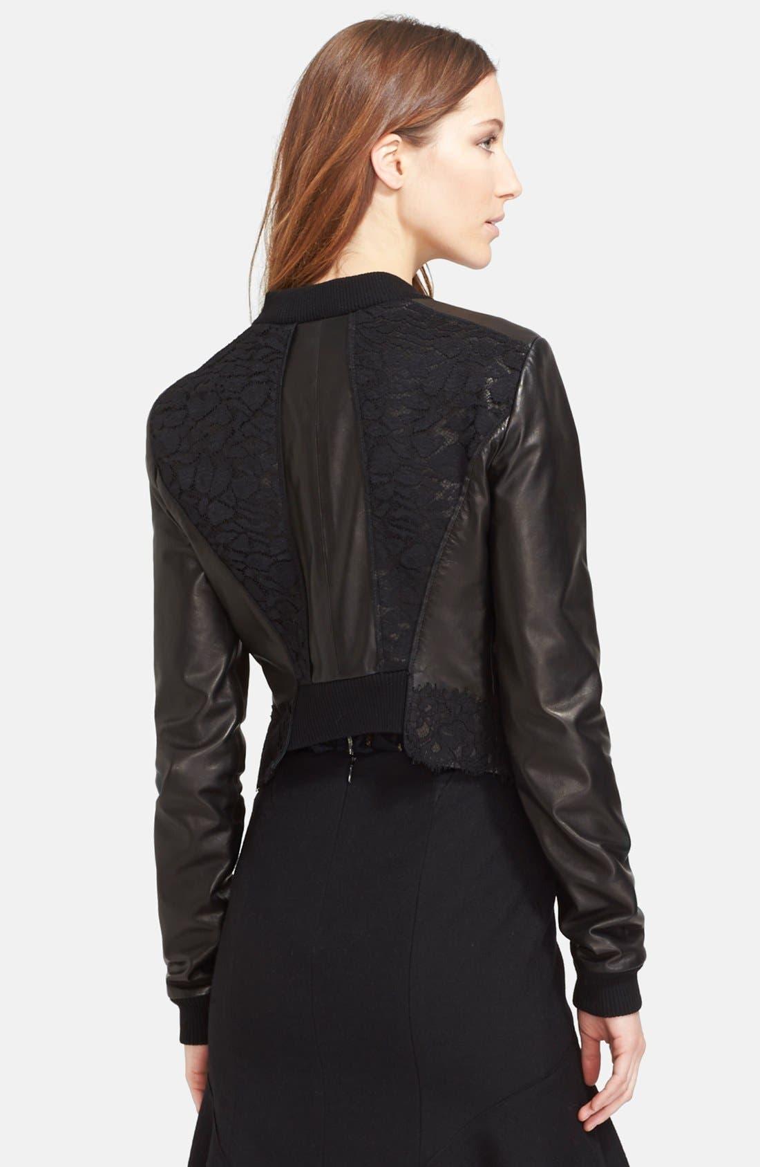 Alternate Image 2  - Nina Ricci Lace Panel Leather Bomber Jacket