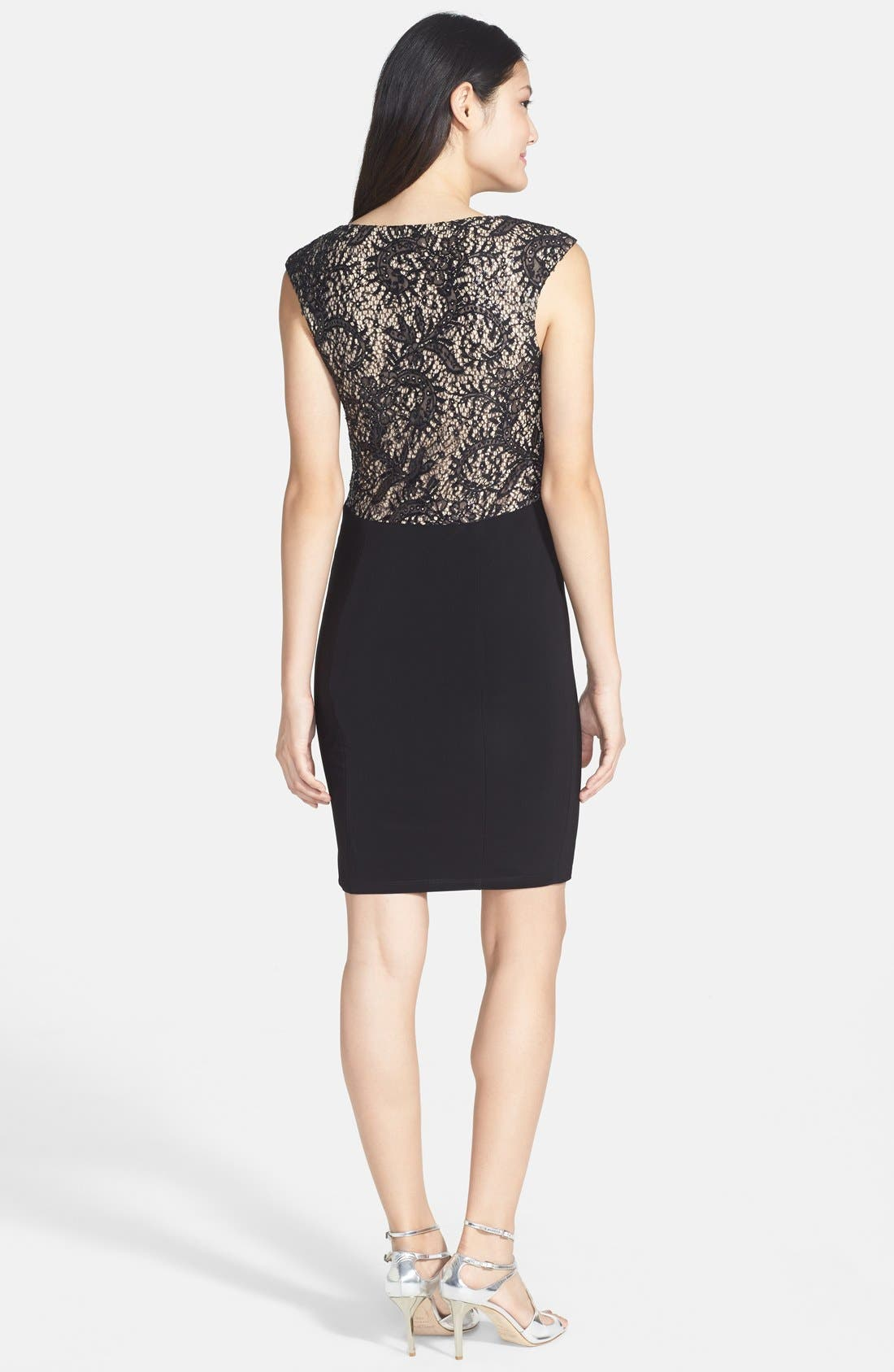 Alternate Image 2  - Xscape Embellished Lace Detail Jersey Sheath Dress