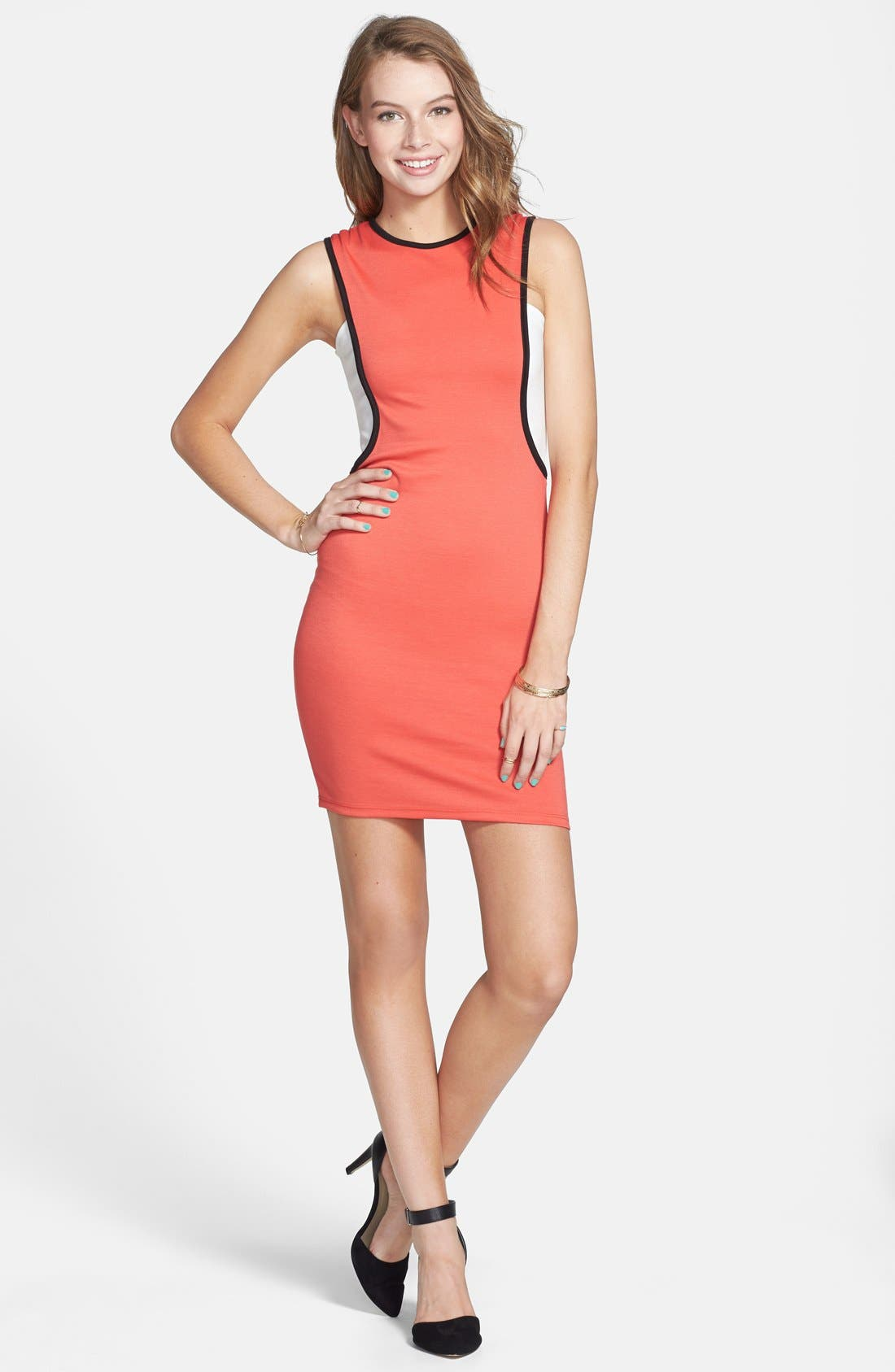 Main Image - Bailey Blue Colorblock Body-Con Dress (Juniors)