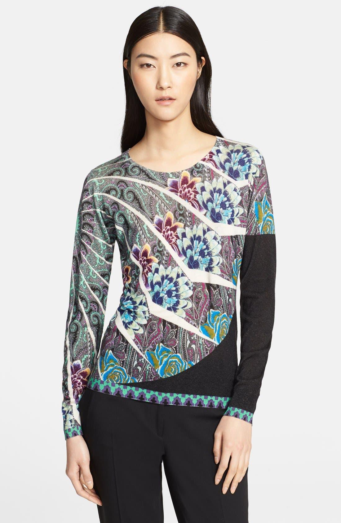 Main Image - Etro Floral Mandala Print Silk & Cashmere Top