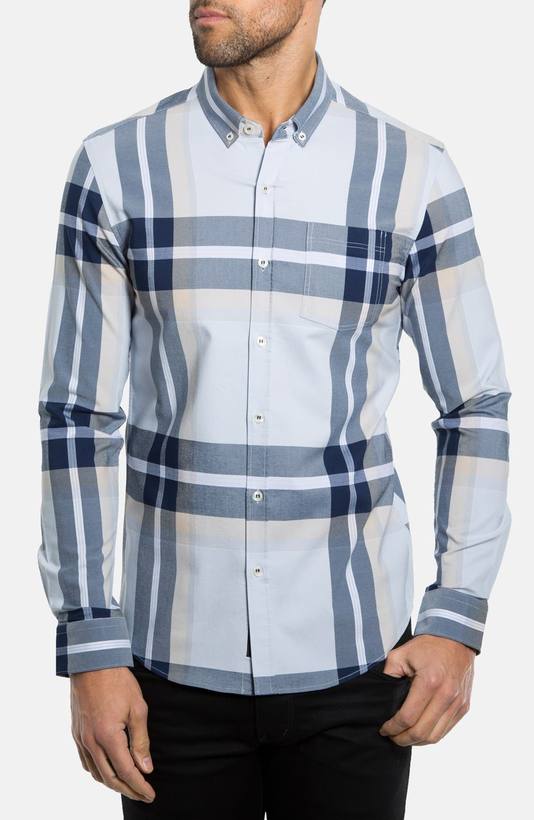 Alternate Image 1 Selected - 7 Diamonds 'Sky and Sand' Trim Fit Plaid Woven Shirt