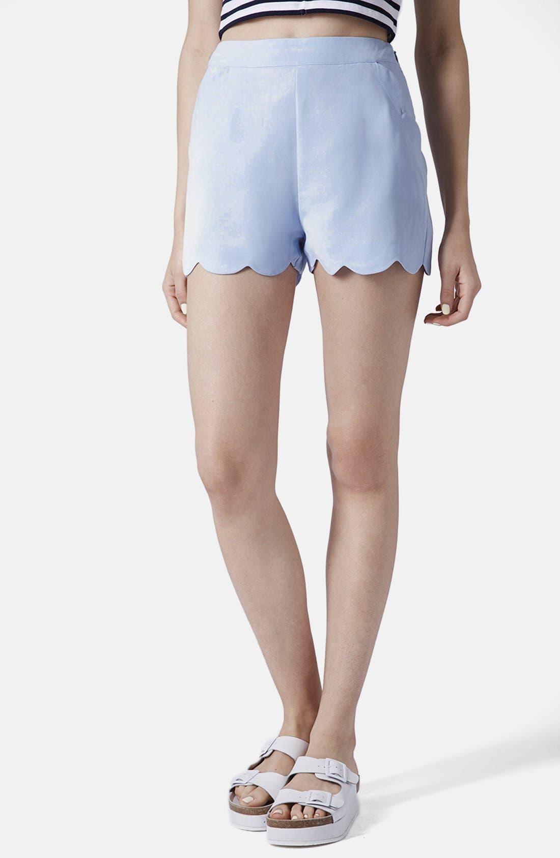 Main Image - Topshop Scallop Hem Crepe Shorts