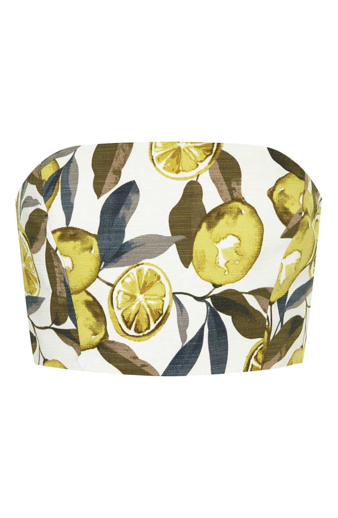 Alternate Image 3  - Topshop Lemon Print Scuba Tube Top (Petite)