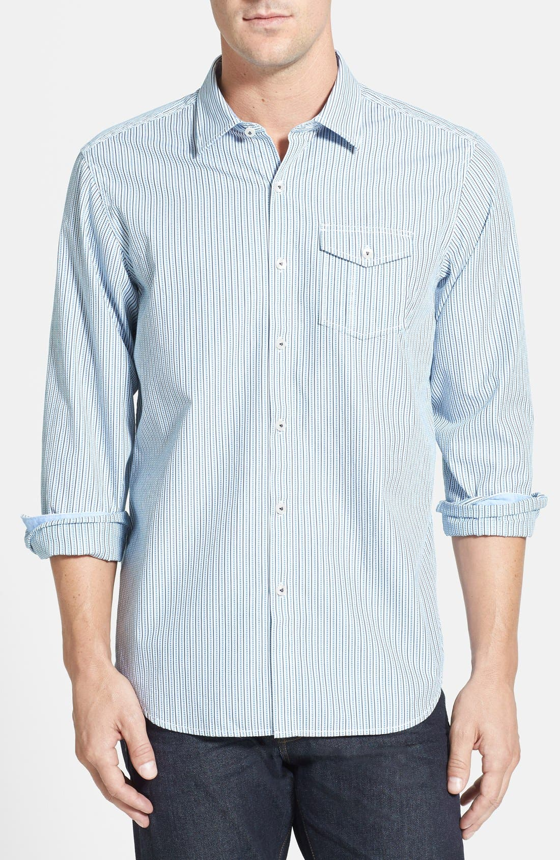 Main Image - Tommy Bahama Denim 'Tres Stripe' Island Modern Fit Sport Shirt