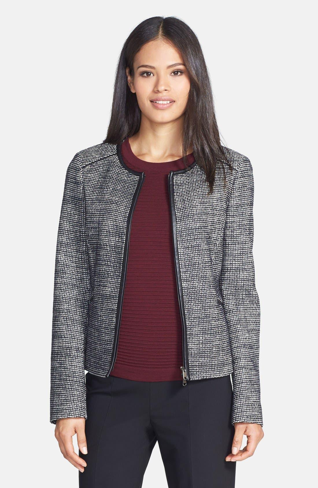 Main Image - BOSS 'Koralia' Leather Trim Collarless Tweed Jacket