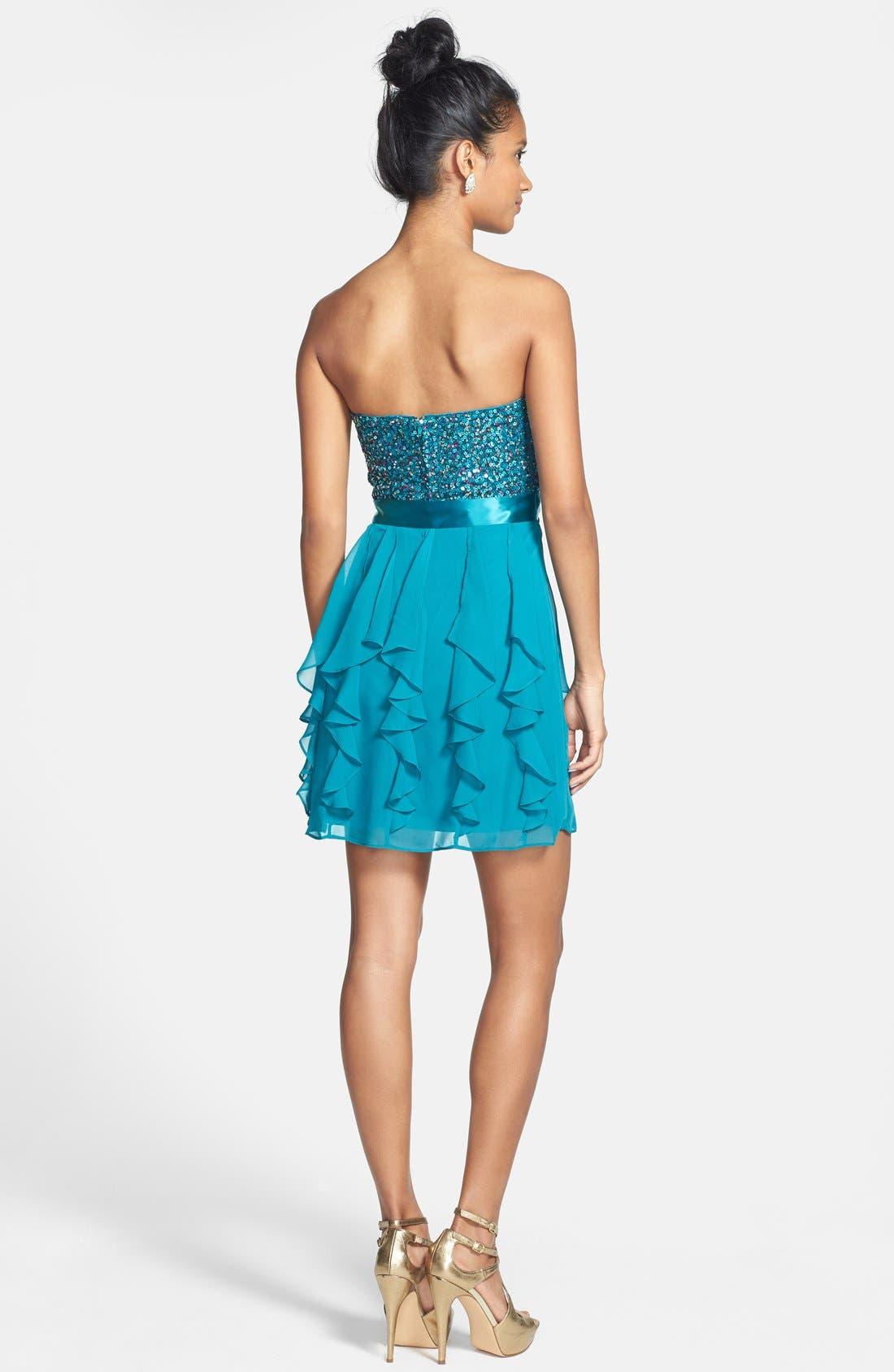 Alternate Image 2  - Hailey Logan Sequin Bodice Ruffle Dress (Juniors) (Online Only)