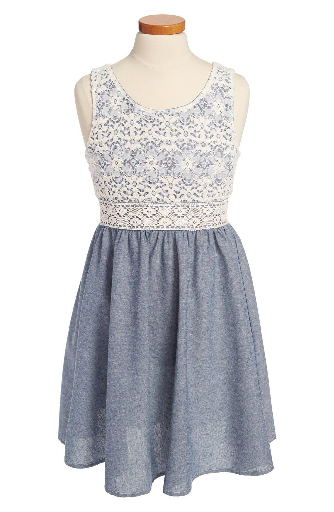 Main Image - Zunie Lace Chambray Dress (Big Girls)