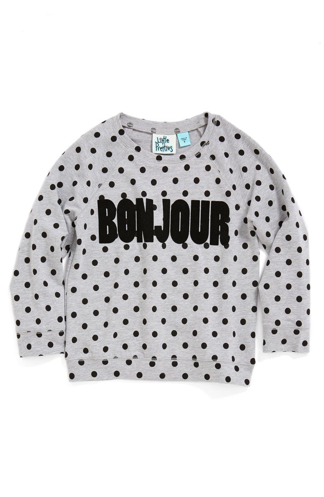 Alternate Image 1 Selected - Little Pretties 'Bonjour' Polka Dot Sweatshirt (Toddler Girls, Little Girls & Big Girls)