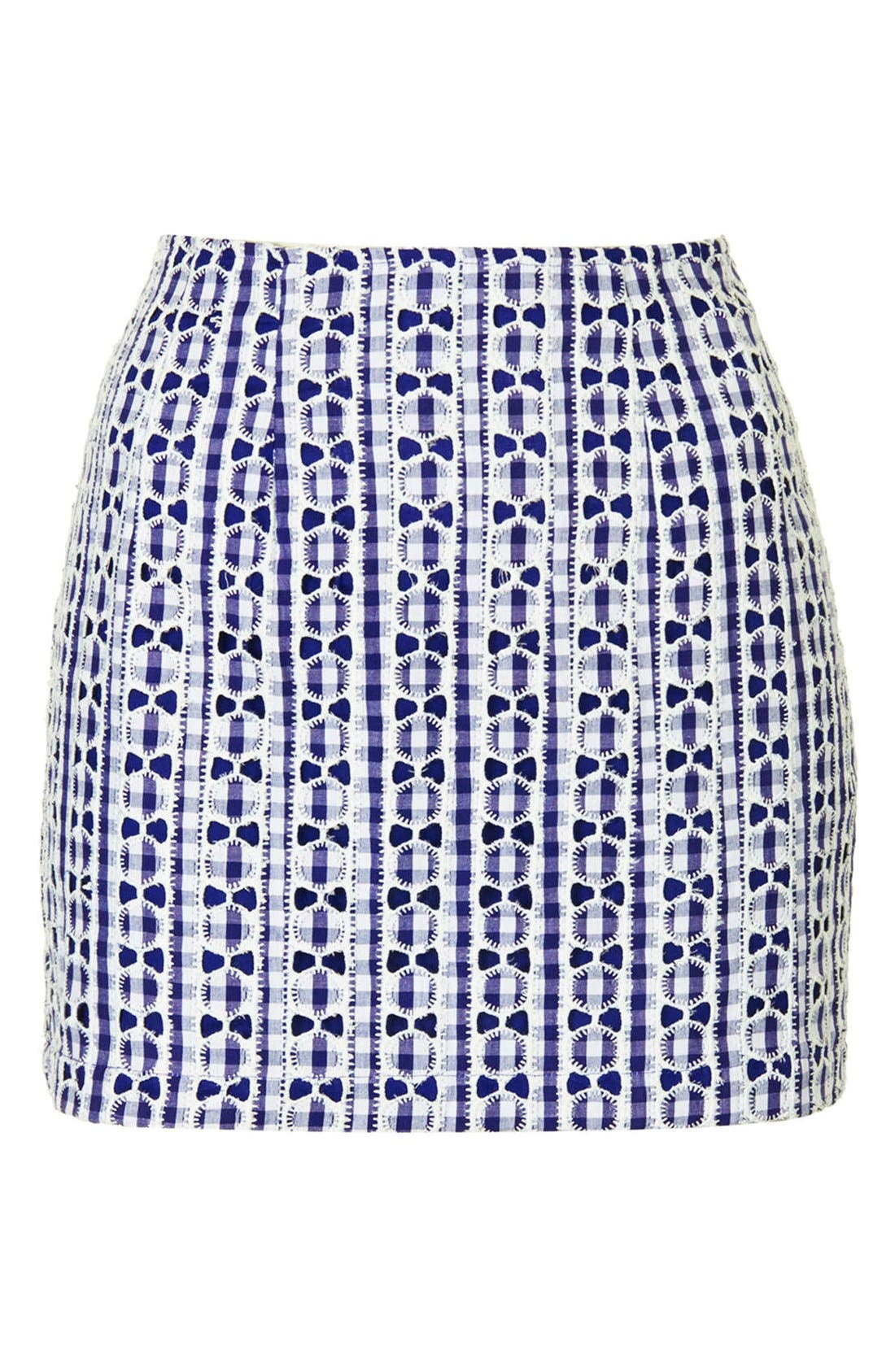 Alternate Image 3  - Topshop Lace Gingham Pelmet Skirt (Regular & Petite)