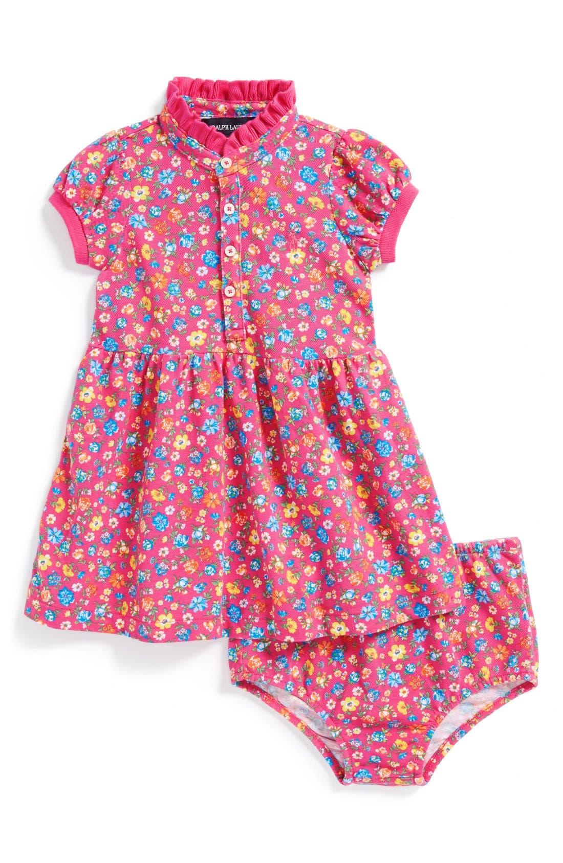 Main Image - Ralph Lauren Floral Mesh Dress & Bloomers (Baby Girls)