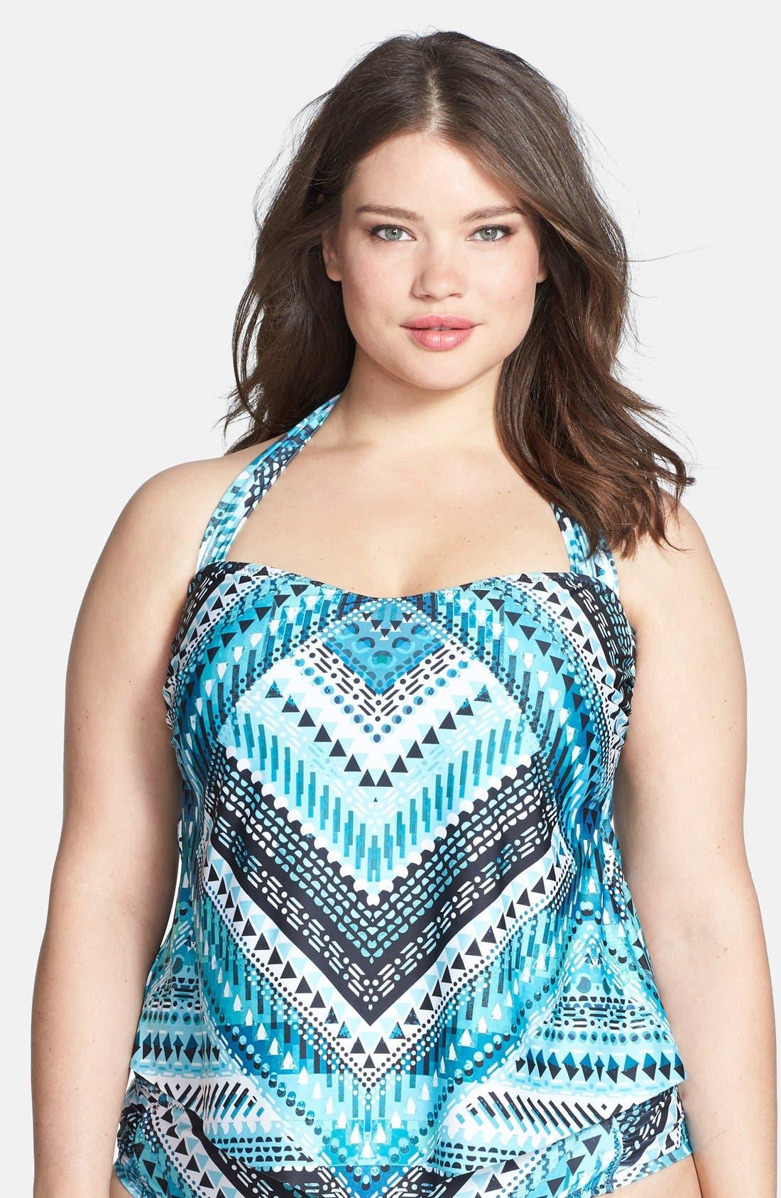 Alternate Image 1 Selected - Becca Etc. 'Mayan' Tankini Top (Plus Size)