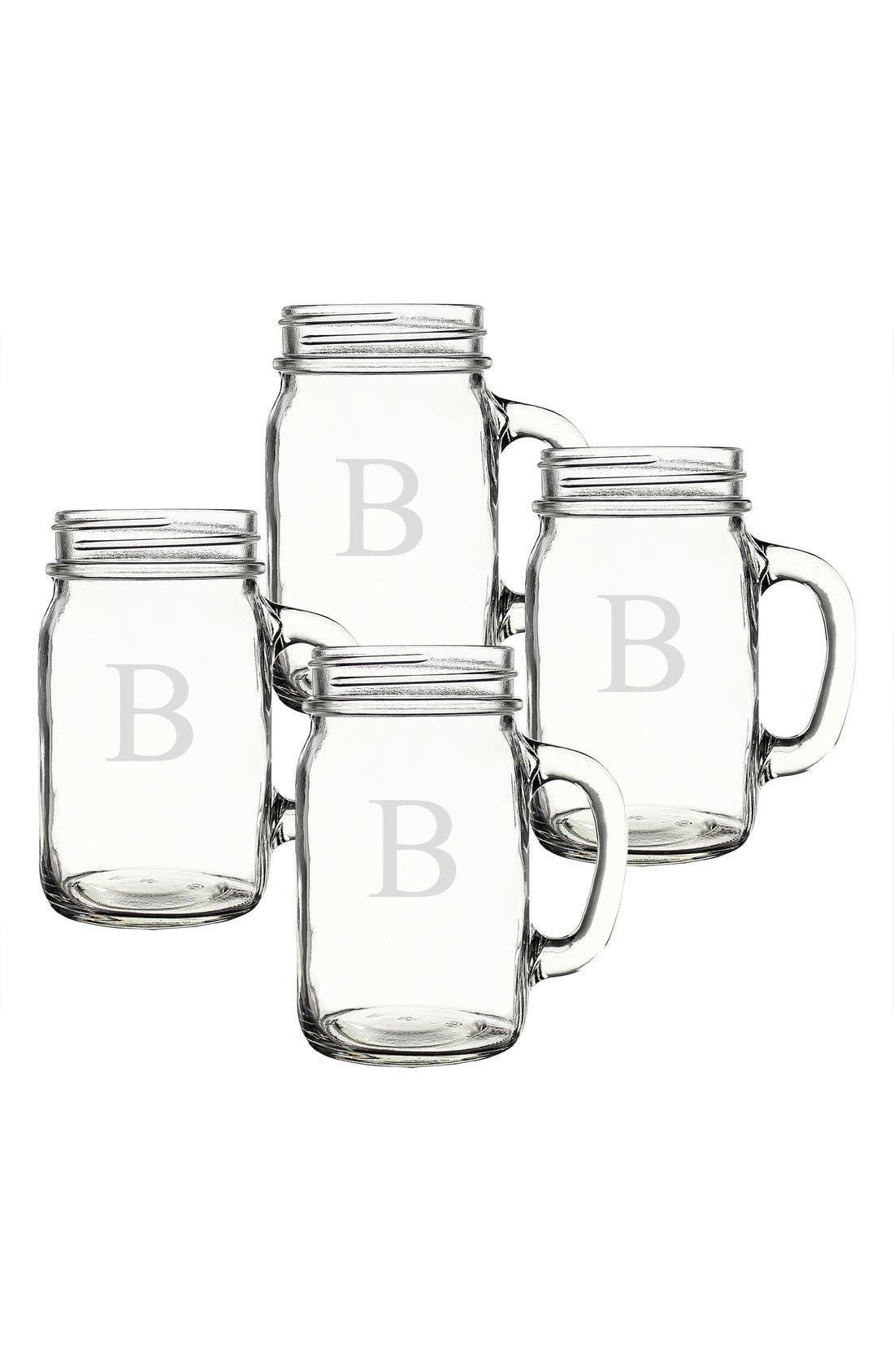 Alternate Image 2  - Cathy's Concepts Monogram Glass Drinking Jars (Set of 4)