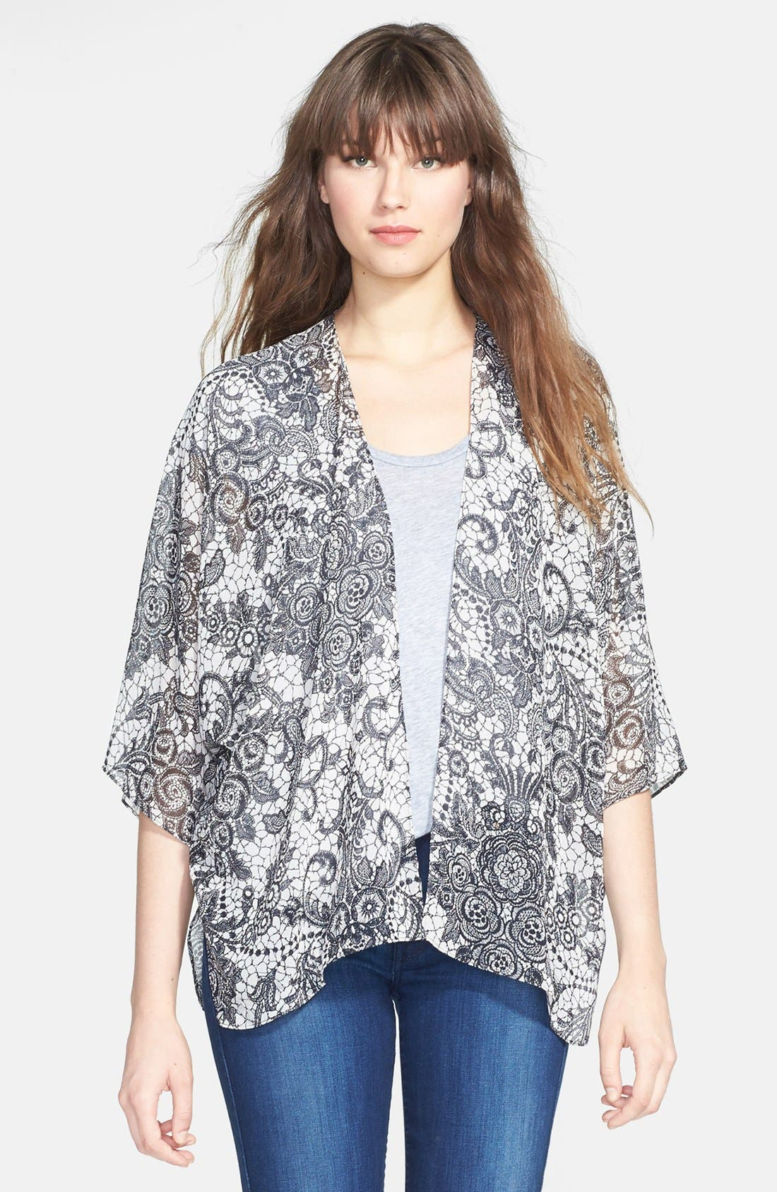 Alternate Image 1 Selected - Gibson Print Chiffon Cardigan