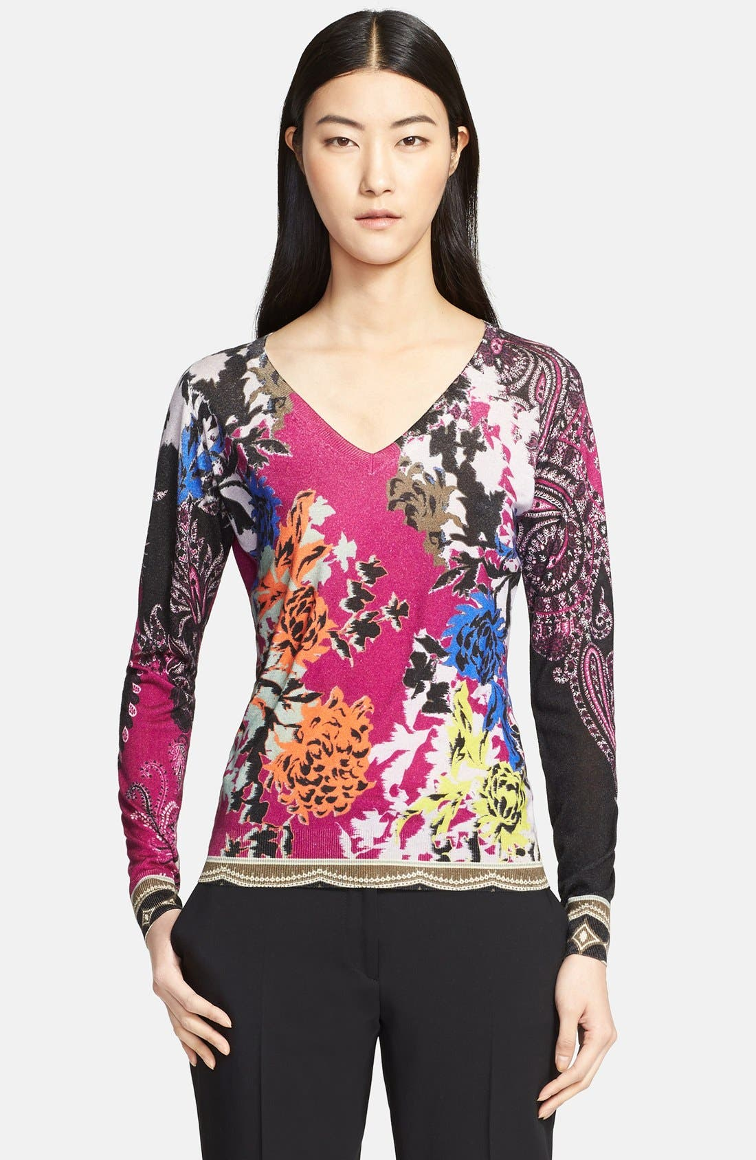 Alternate Image 1 Selected - Etro Floral Print Silk & Cashmere Sweater