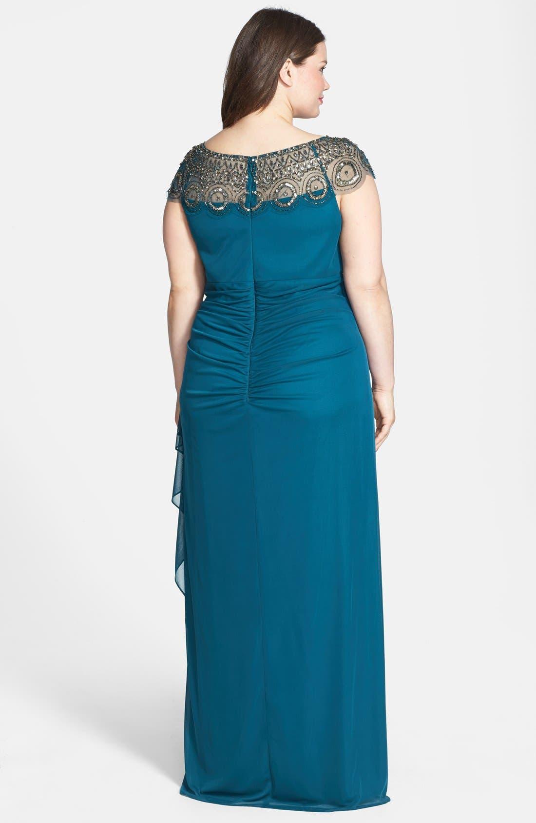 Alternate Image 2  - Xscape Embellished Yoke Matte Jersey Gown (Plus Size)