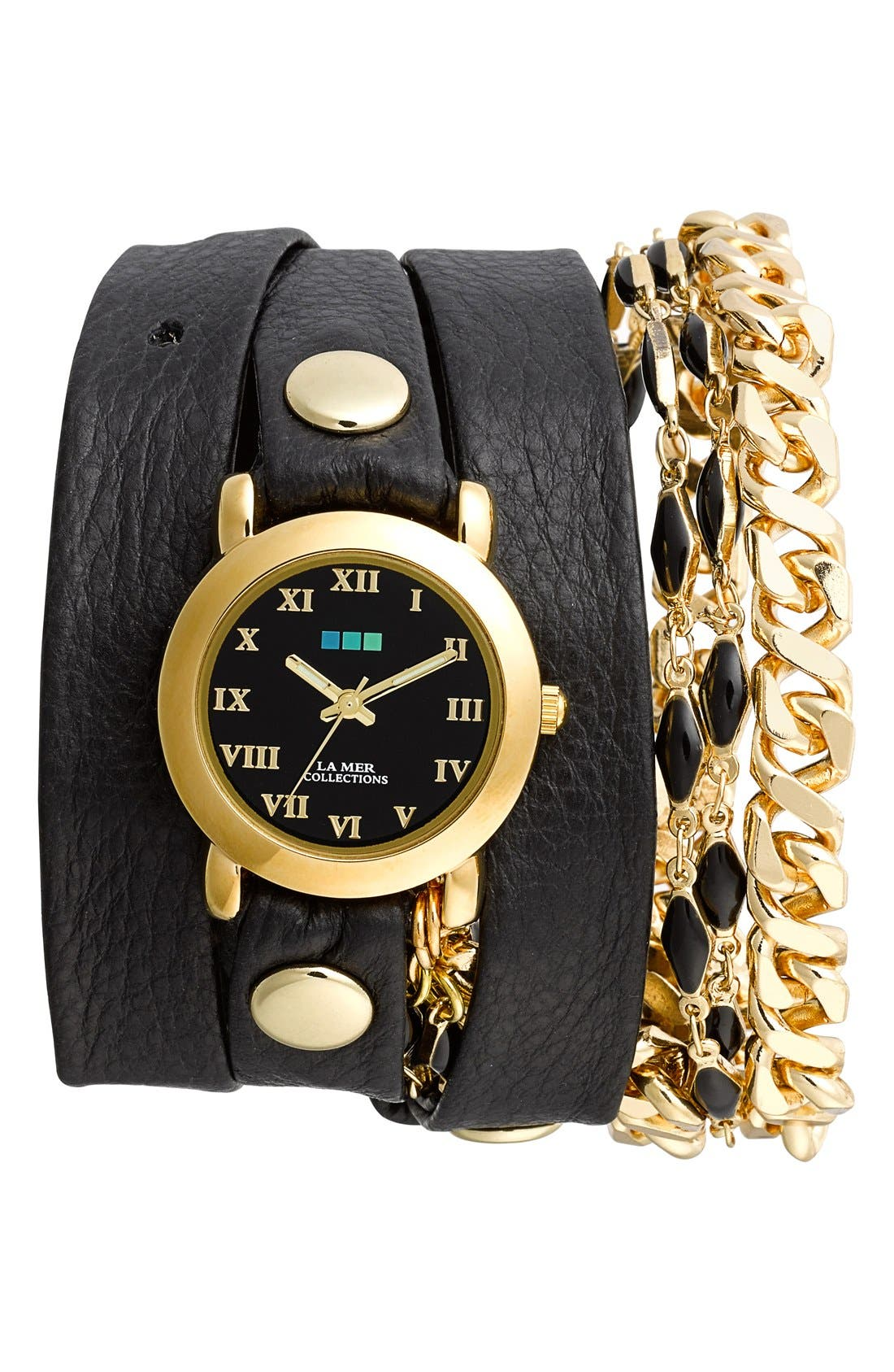 Main Image - La Mer Collections 'Black Magic' Leather Wrap Watch, 30mm x 7mm