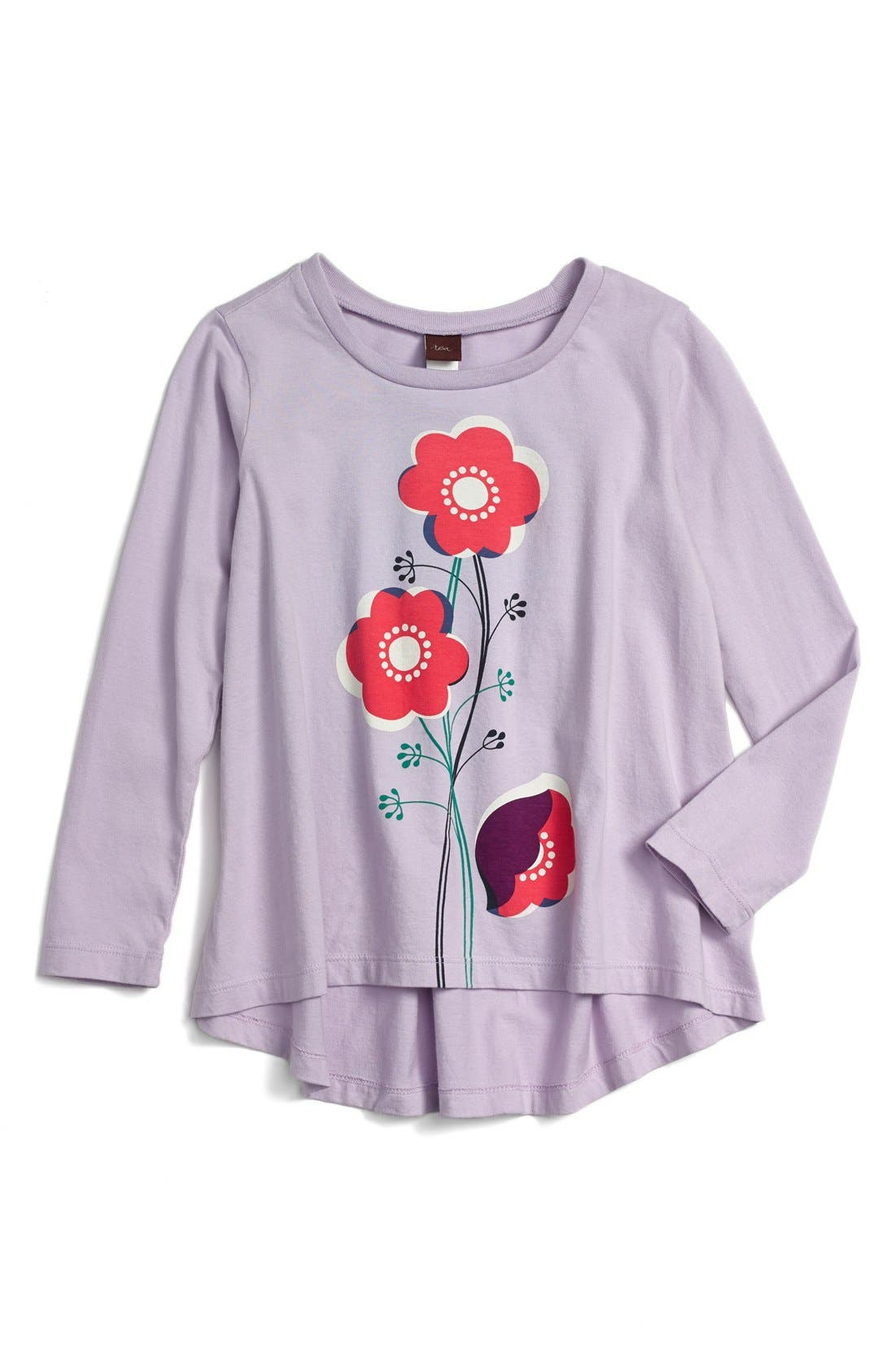 Main Image - Tea Collection 'Blumen Auf Stengel' High/Low Twirl Top (Baby Girls)