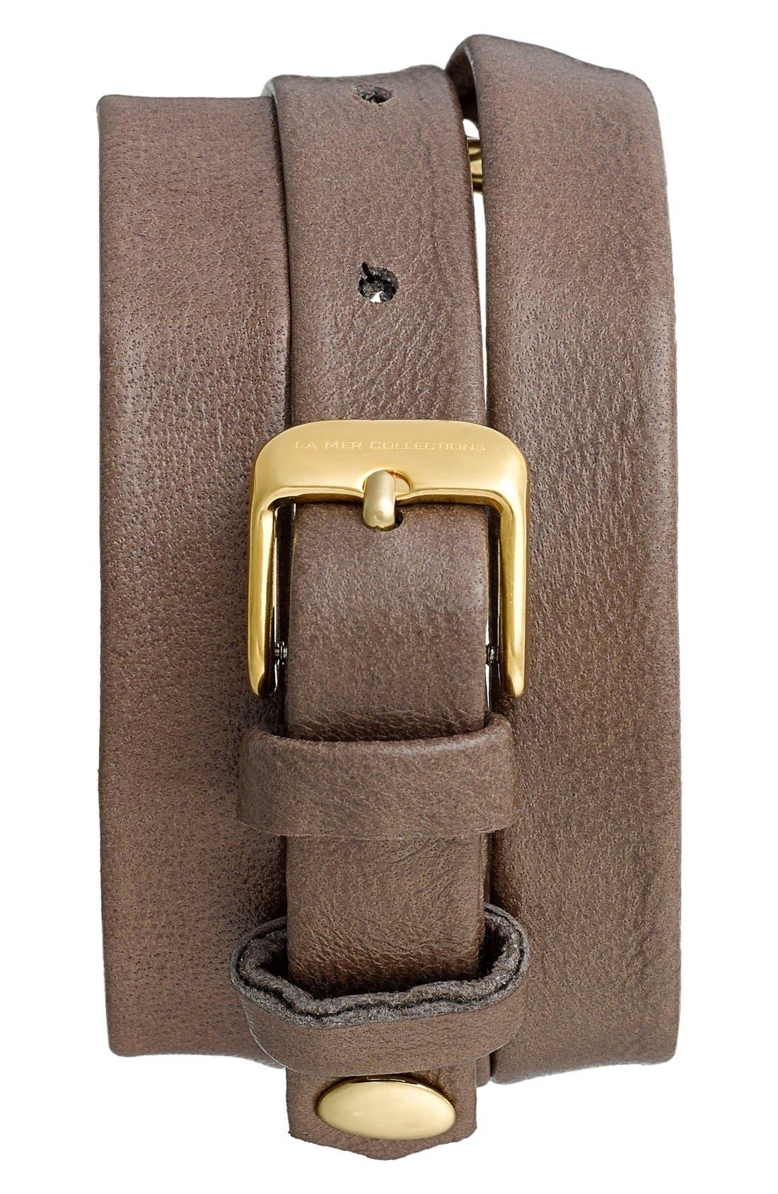 Alternate Image 2  - La Mer Collections 'Smokey Quartz' Leather Wrap Bracelet Watch, 42mm x 40mm