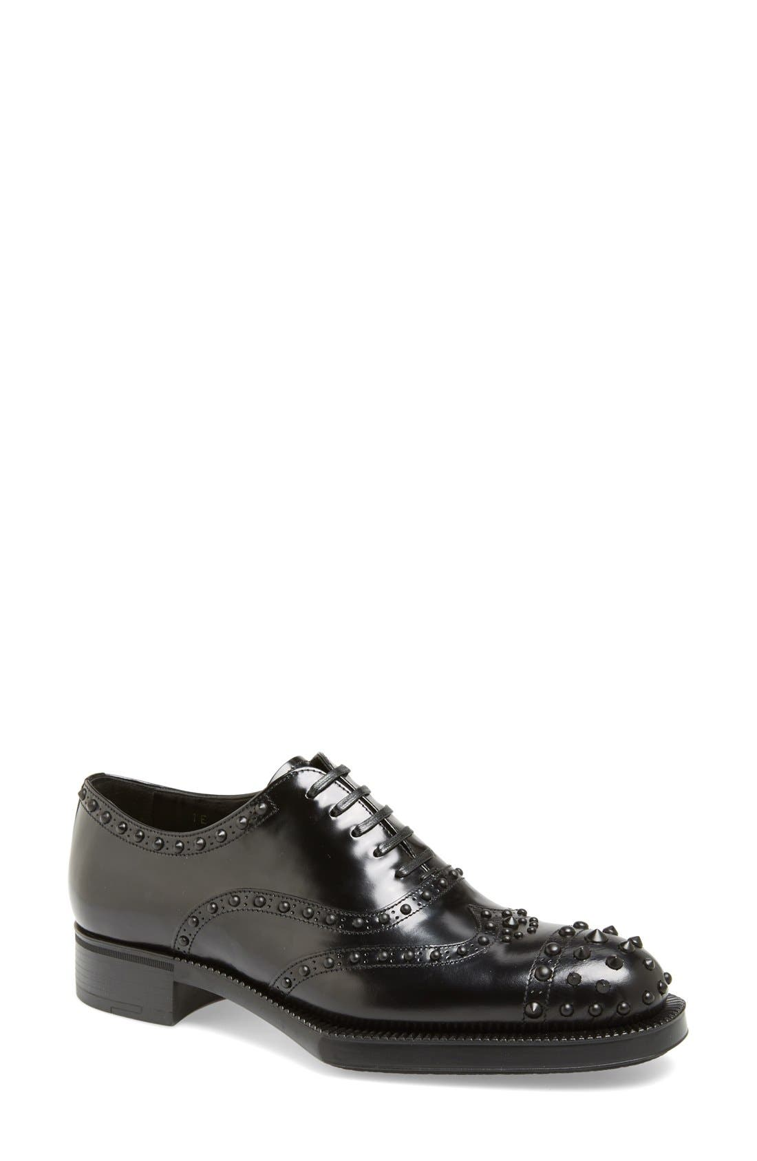 Main Image - Prada Studded Wingtip Oxford (Women)