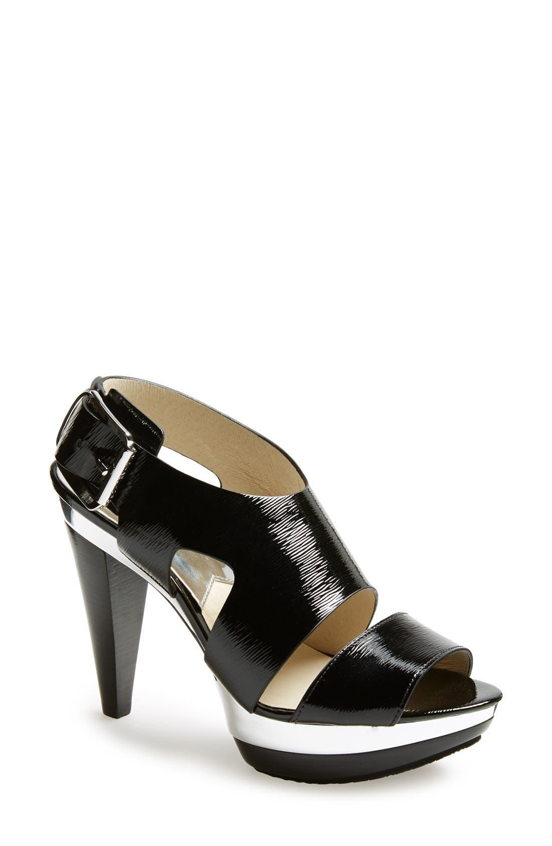 Alternate Image 1 Selected - MICHAEL Michael Kors 'Carla' Saffiano Patent Leather Sandal (Women)