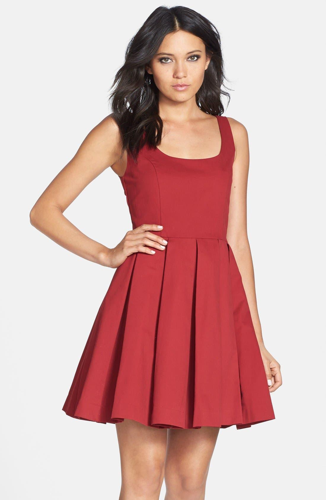 Alternate Image 1 Selected - BB Dakota 'Dane' Pleat Fit & Flare Dress