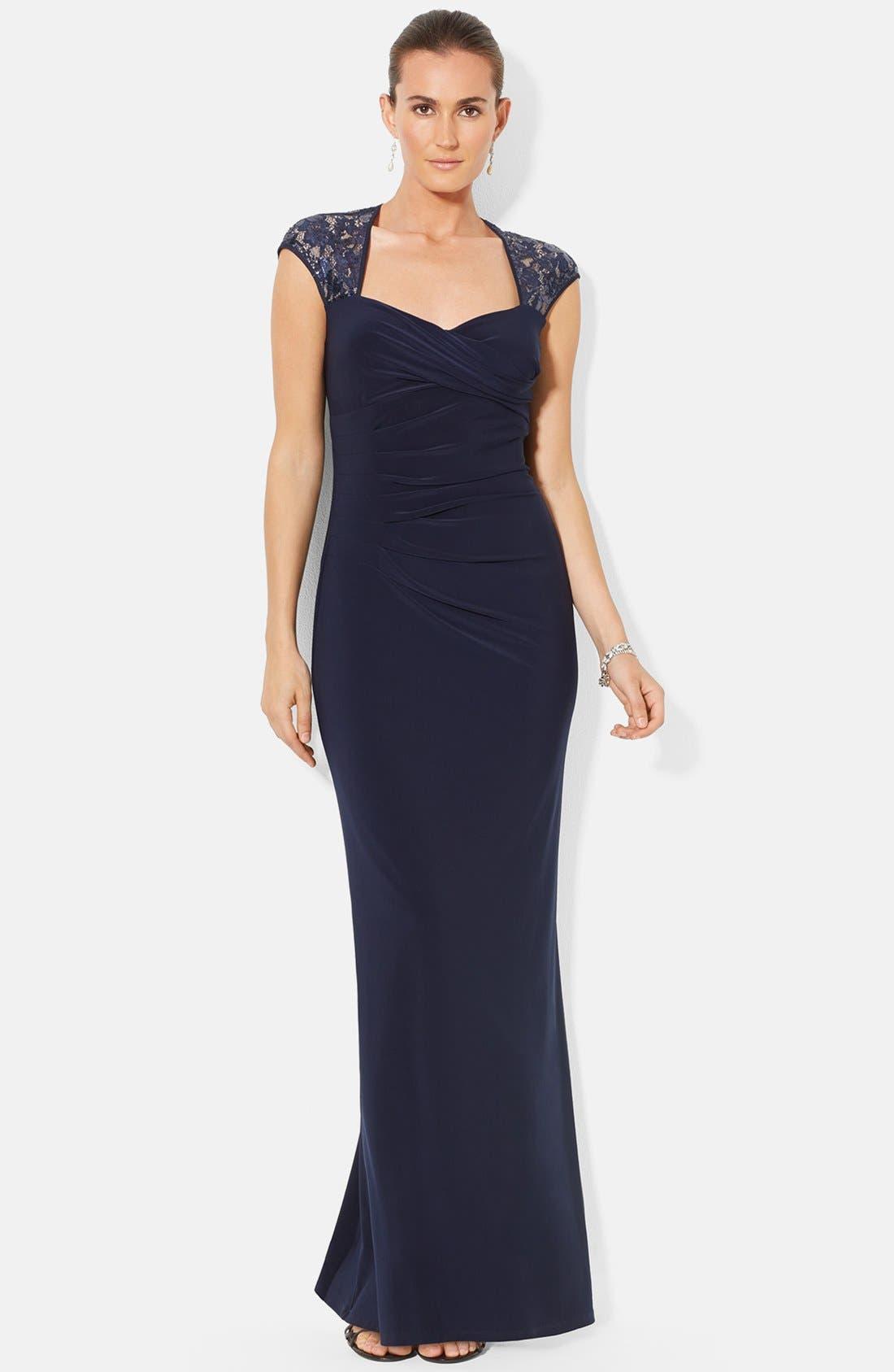 Alternate Image 3  - Lauren Ralph Lauren Sequin Lace Sleeve Jersey Gown (Regular & Petite)