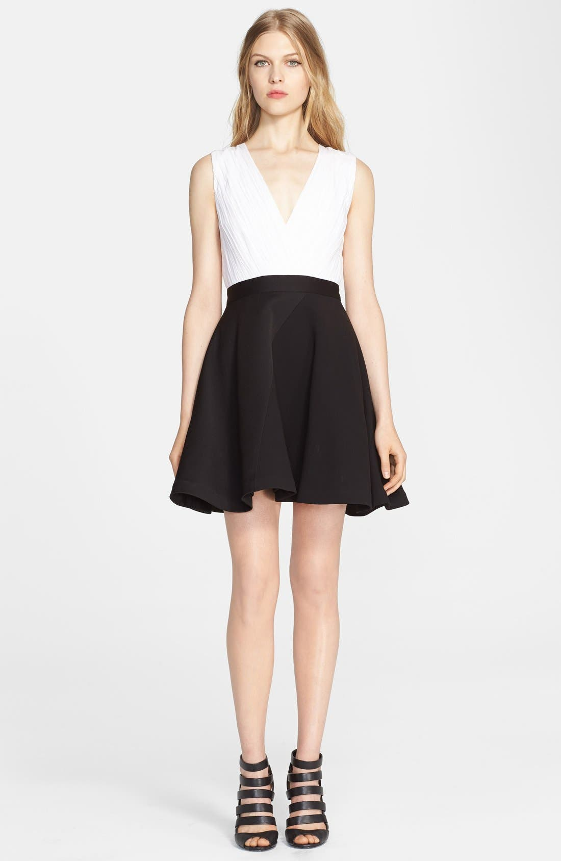 Main Image - Alice + Olivia 'Tobin' Mixed Media Fit & Flare Dress