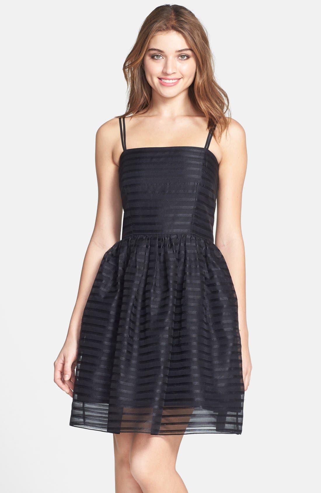 Main Image - Shoshanna 'Chelsea' Ribbon Stripe Silk Organza Fit & Flare Dress