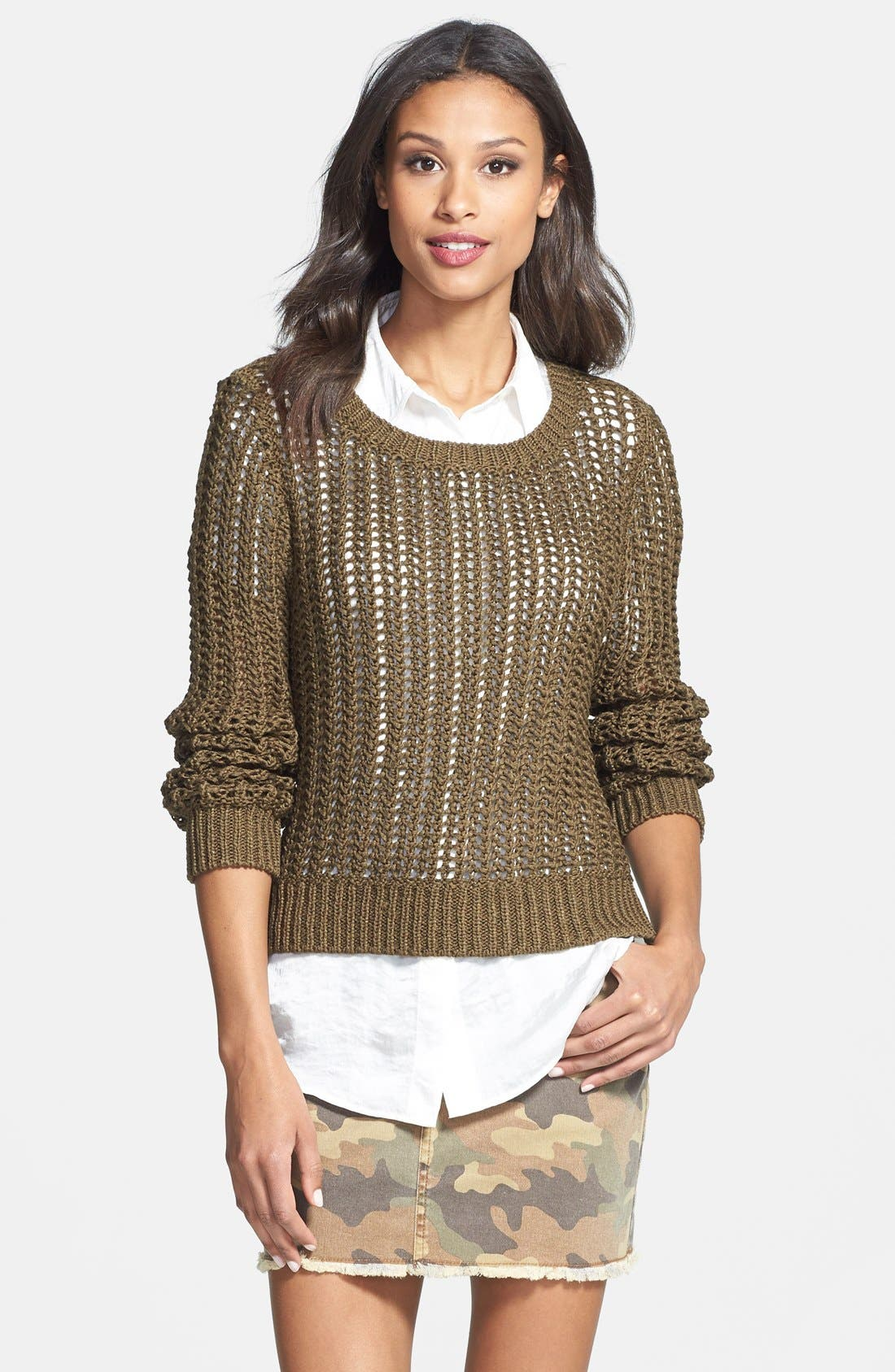 Main Image - MICHAEL Michael Kors Open Stitch High/Low Sweater (Regular & Petite)